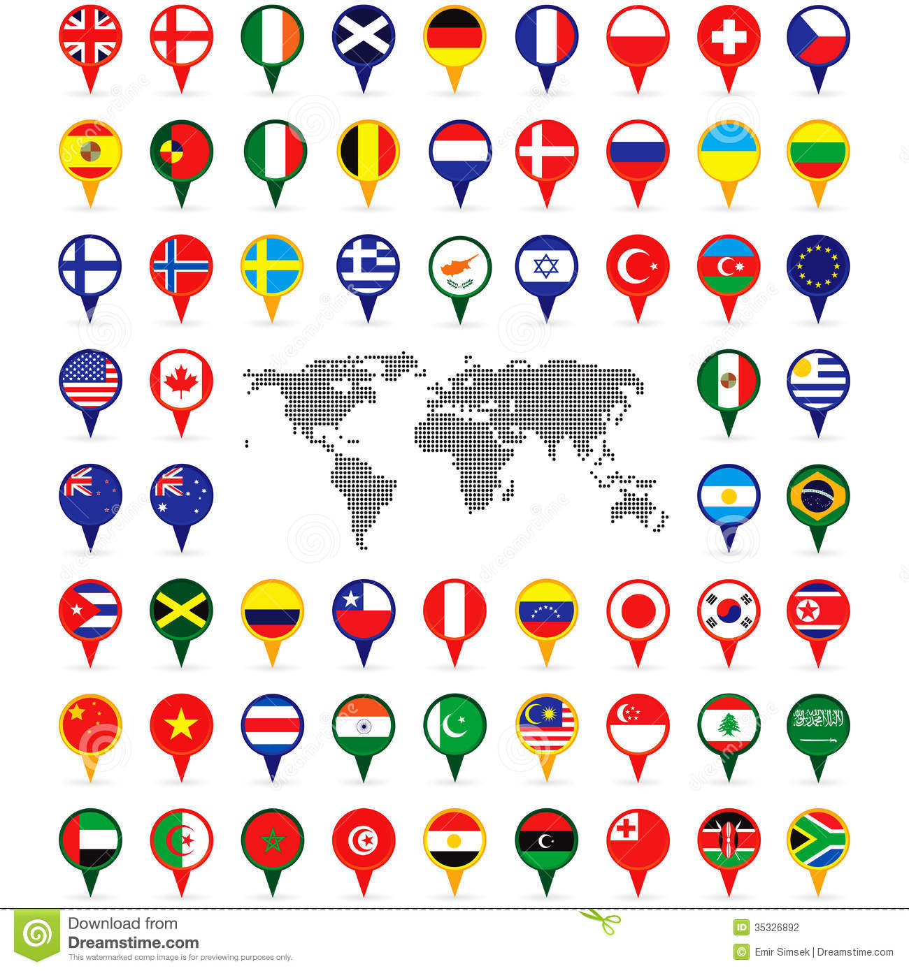 World flags on map pins stock vector illustration of country 35326892 world flags on map pins gumiabroncs Images