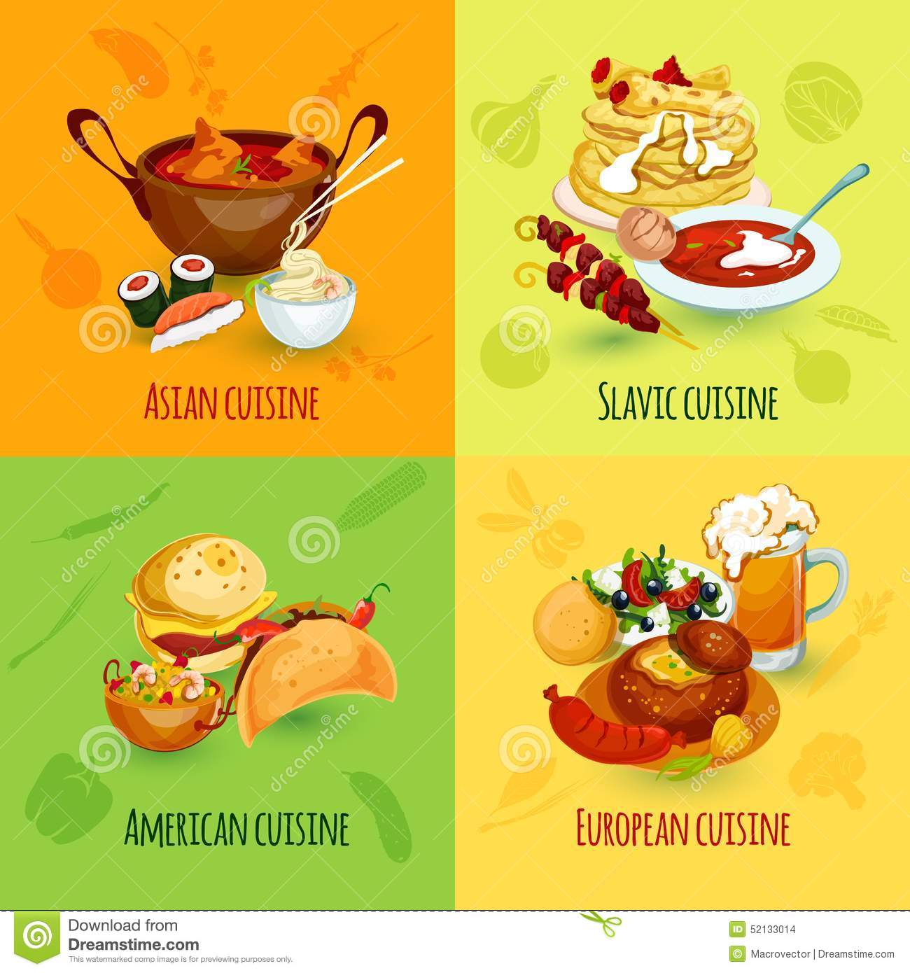 World Food Set Stock Vector Image 52133014