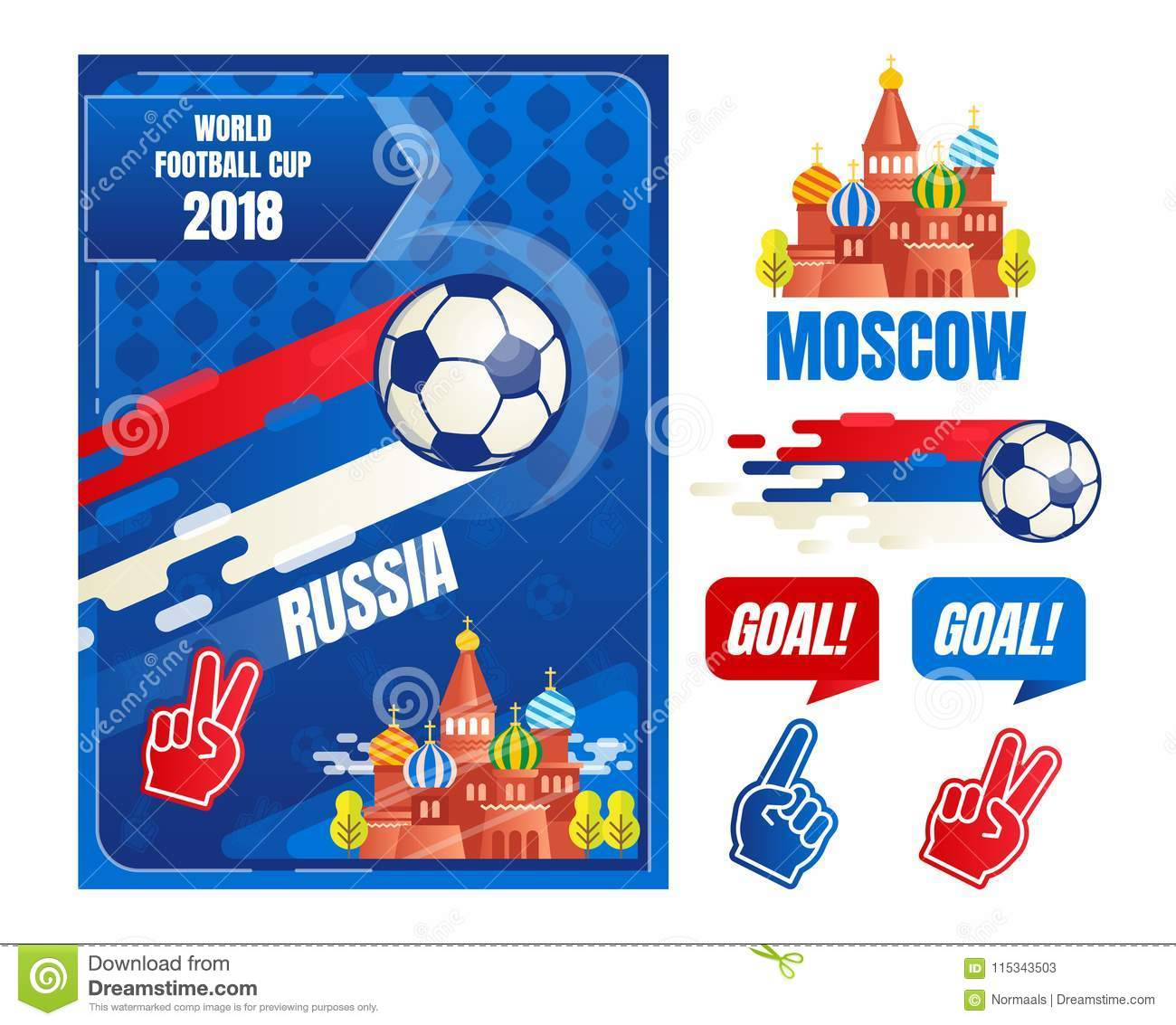 World Football Cup In Russia Poster Design Elements Template Vector Illustration