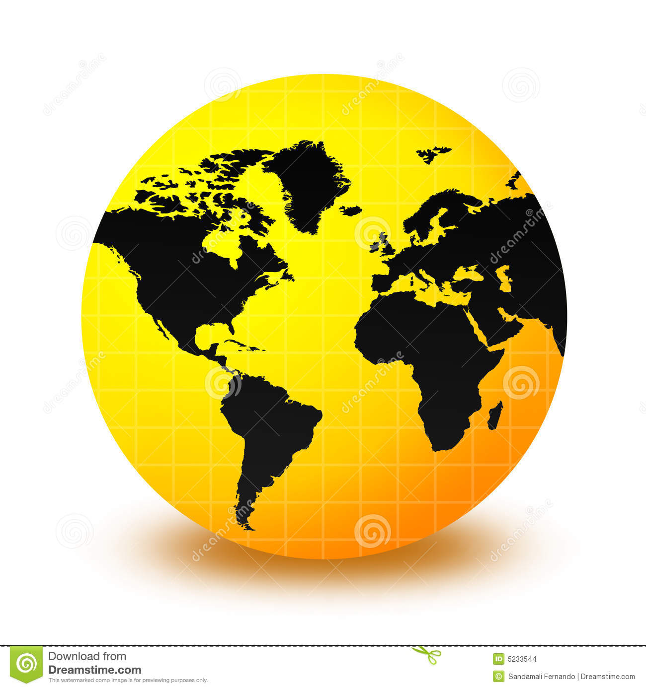Clean yellow and black world globe isolated on white background ...