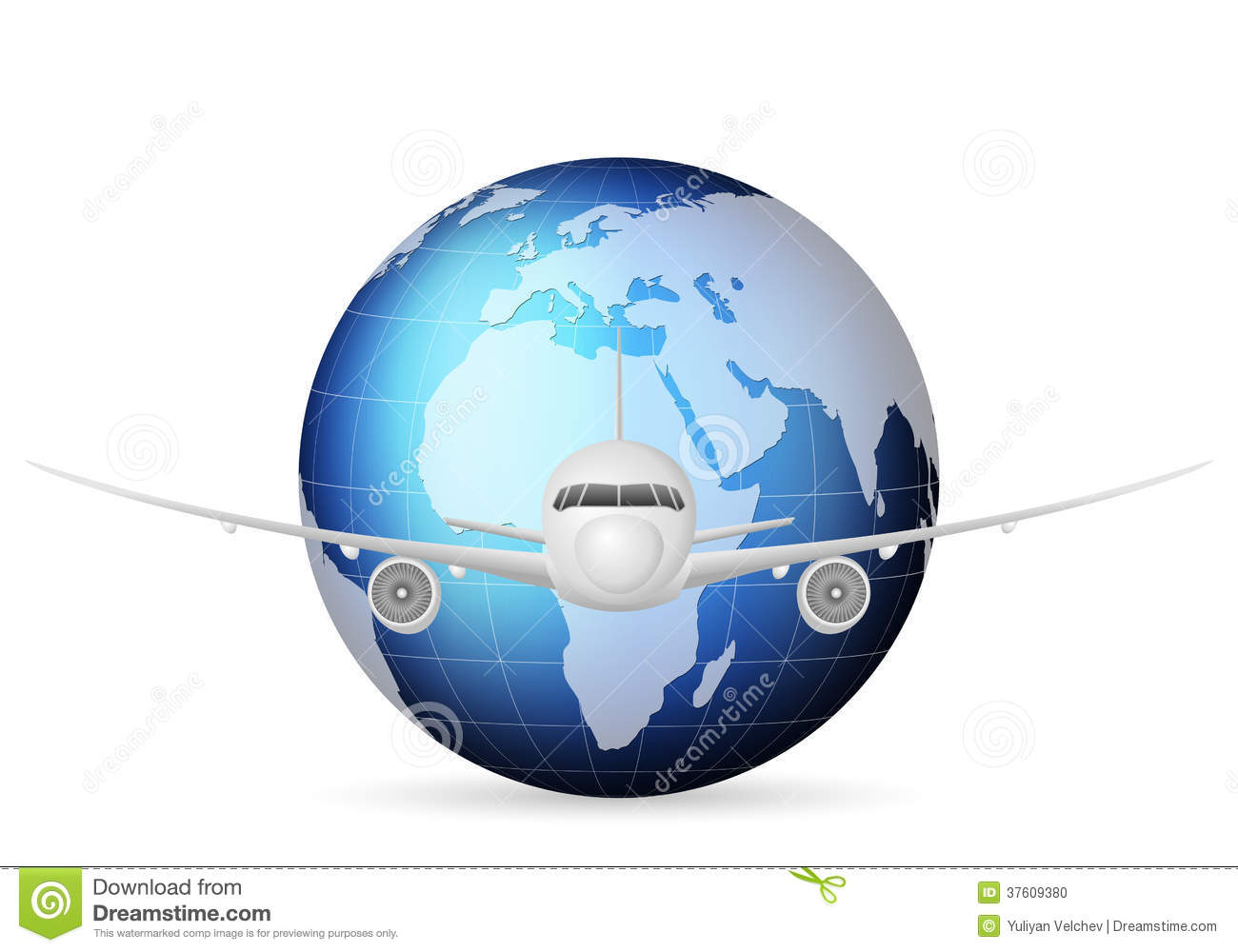 World Globe And Airplane Stock Photo - Image: 37609380