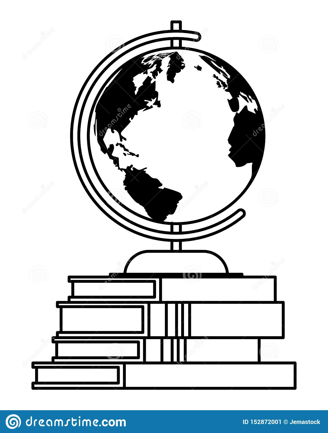 World Globe On Education Books Cartoons In Black And White Stock Vector Illustration Of Educate Classroom 152872001