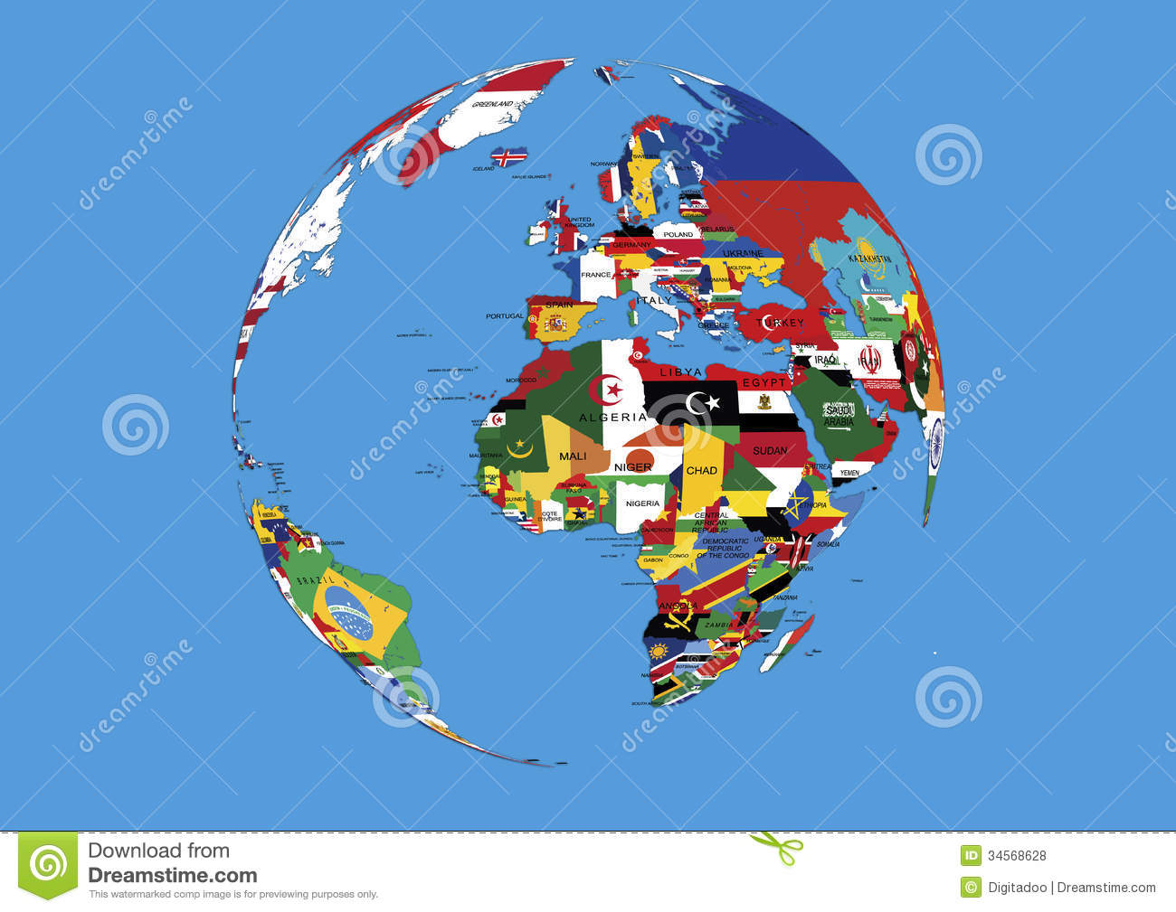 World Globe Europe Africa And Asia Flags Map Stock Illustration
