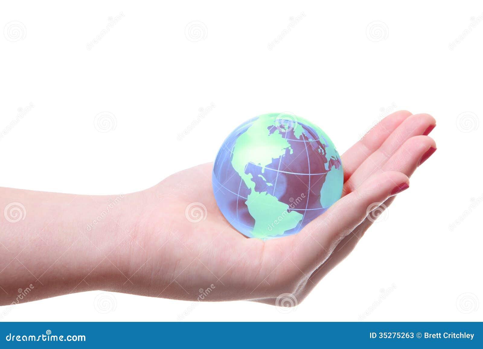 World globe in hand