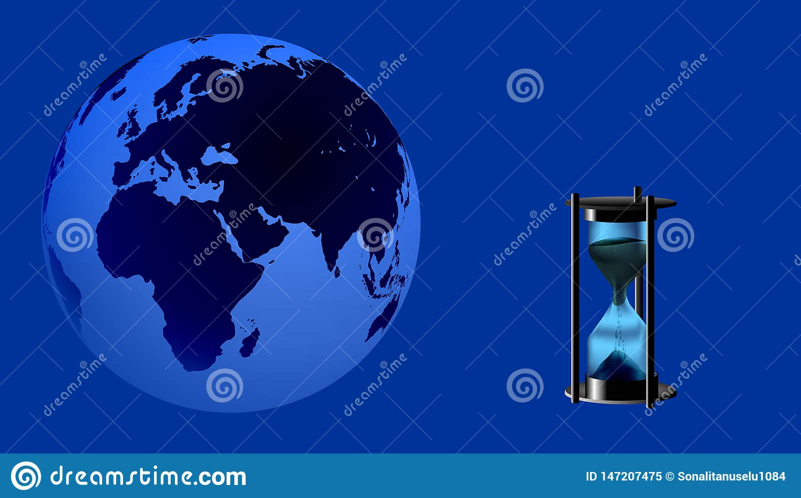 World Globe with hourglass time hour . vector illustration.