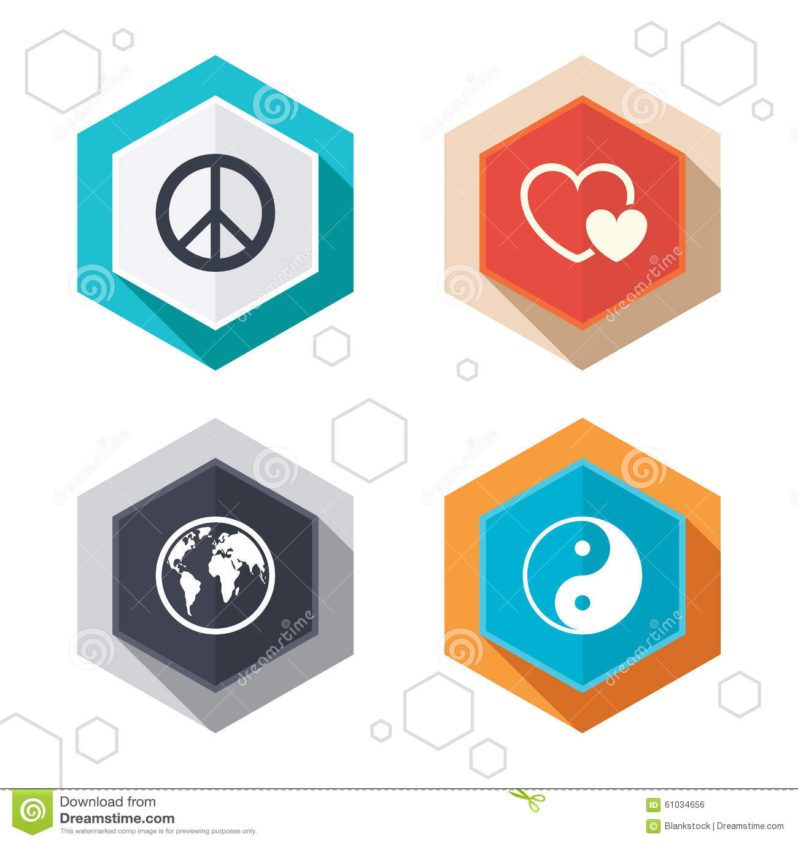 World globe icon. Ying yang sign. Hearts love