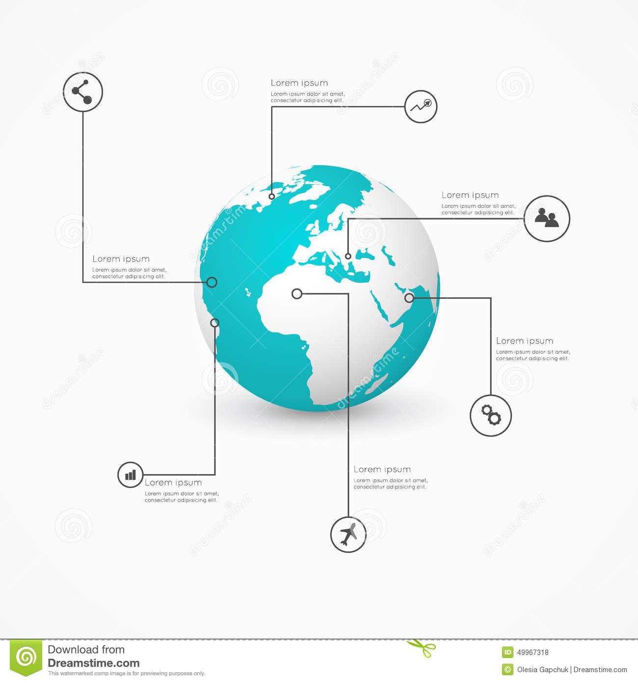 World globe with infographic icons business software and social world globe with infographic icons business software and social gumiabroncs Images