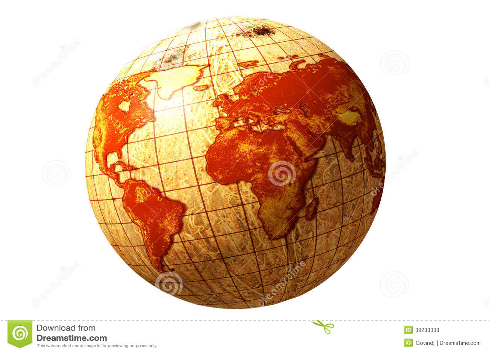 World globe map on coconut