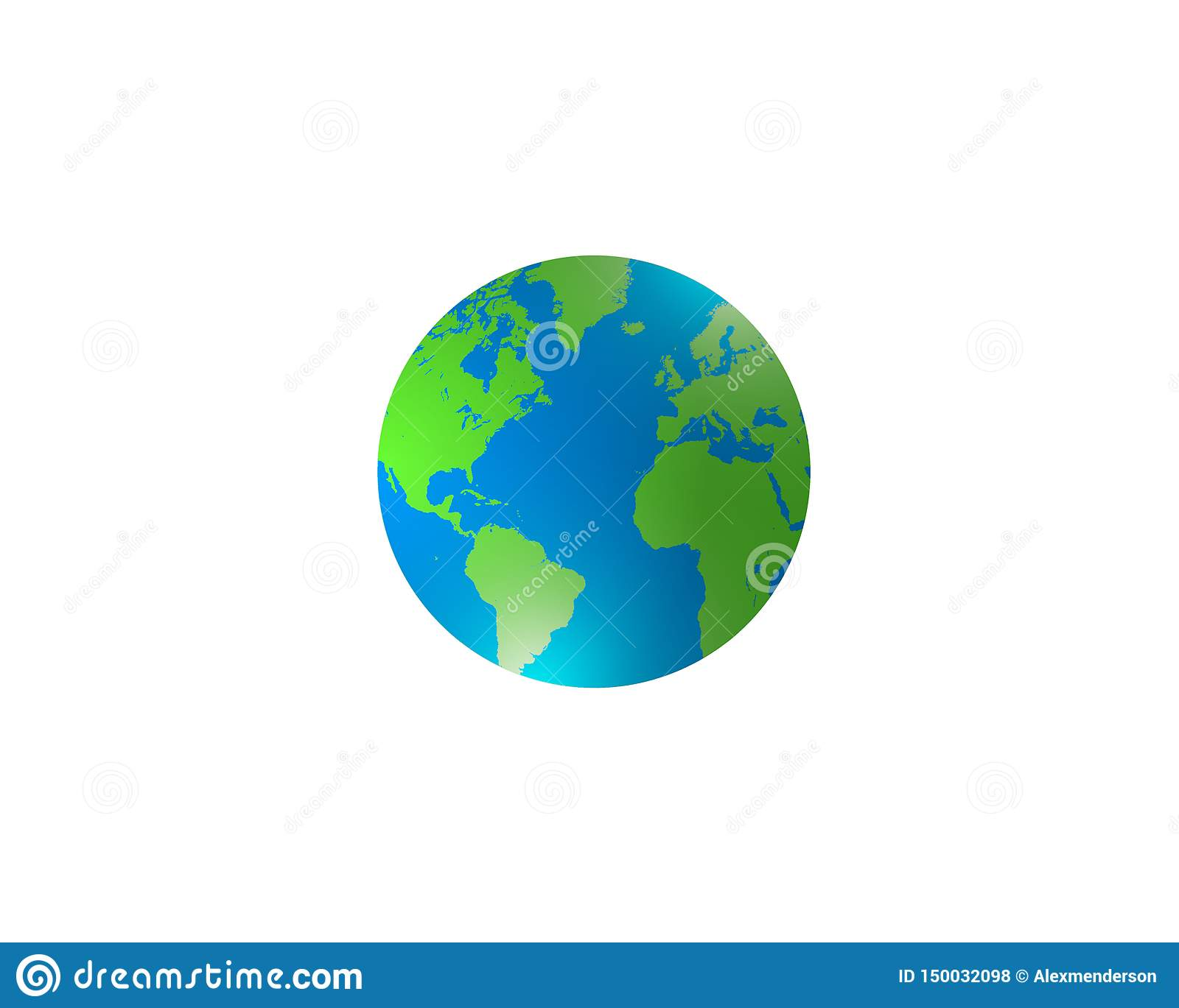 World Globe Map With Continents And Oceans Stock Photo ...