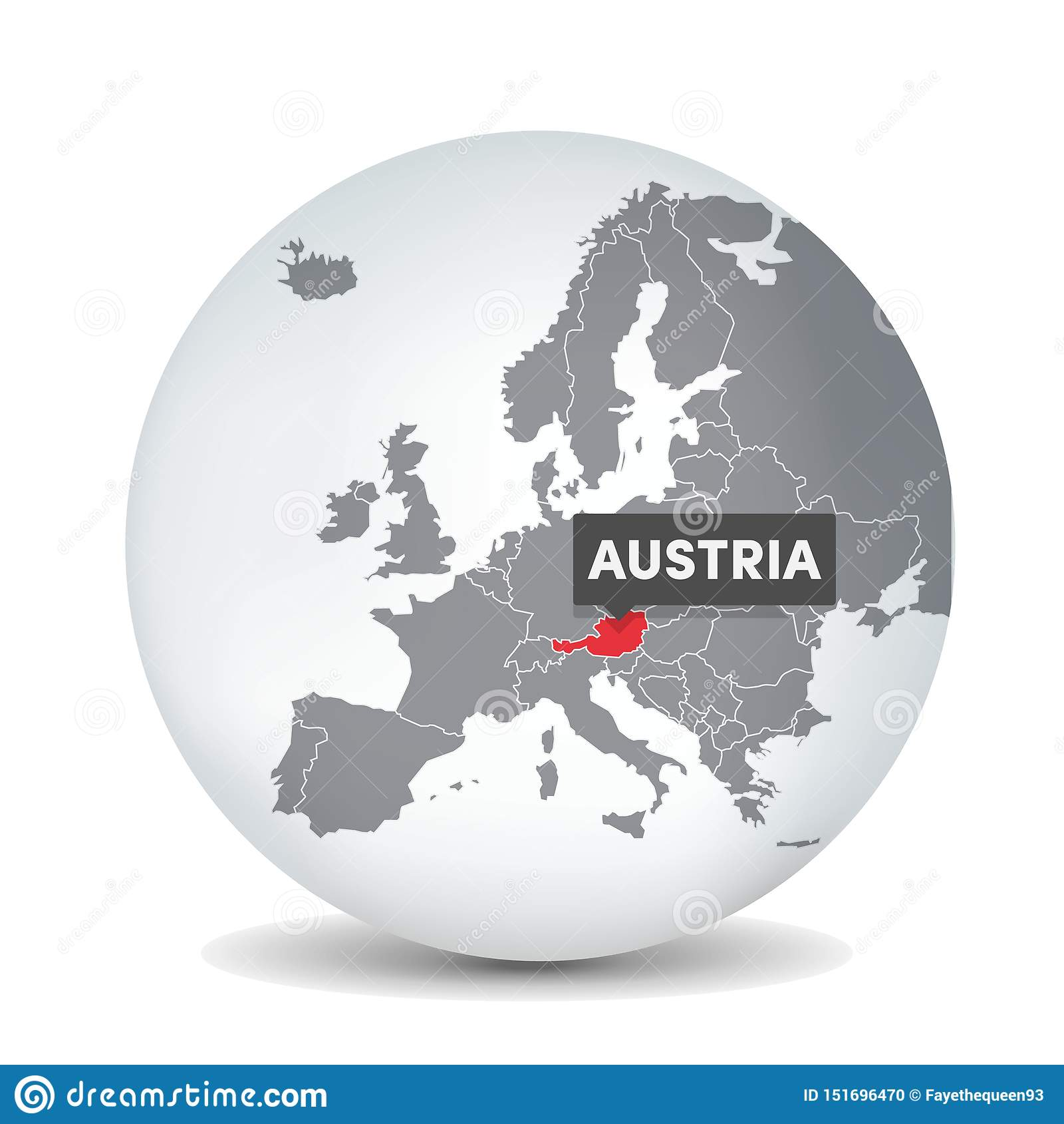 Image of: World Globe Map With The Identication Of Austria Map Of Austria Stock Vector Illustration Of Graz Countries 151696470