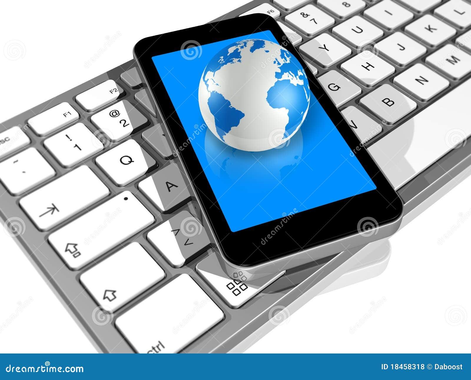 World Globe, Mobile Phone, Computer Keyboard Royalty Free Stock ...