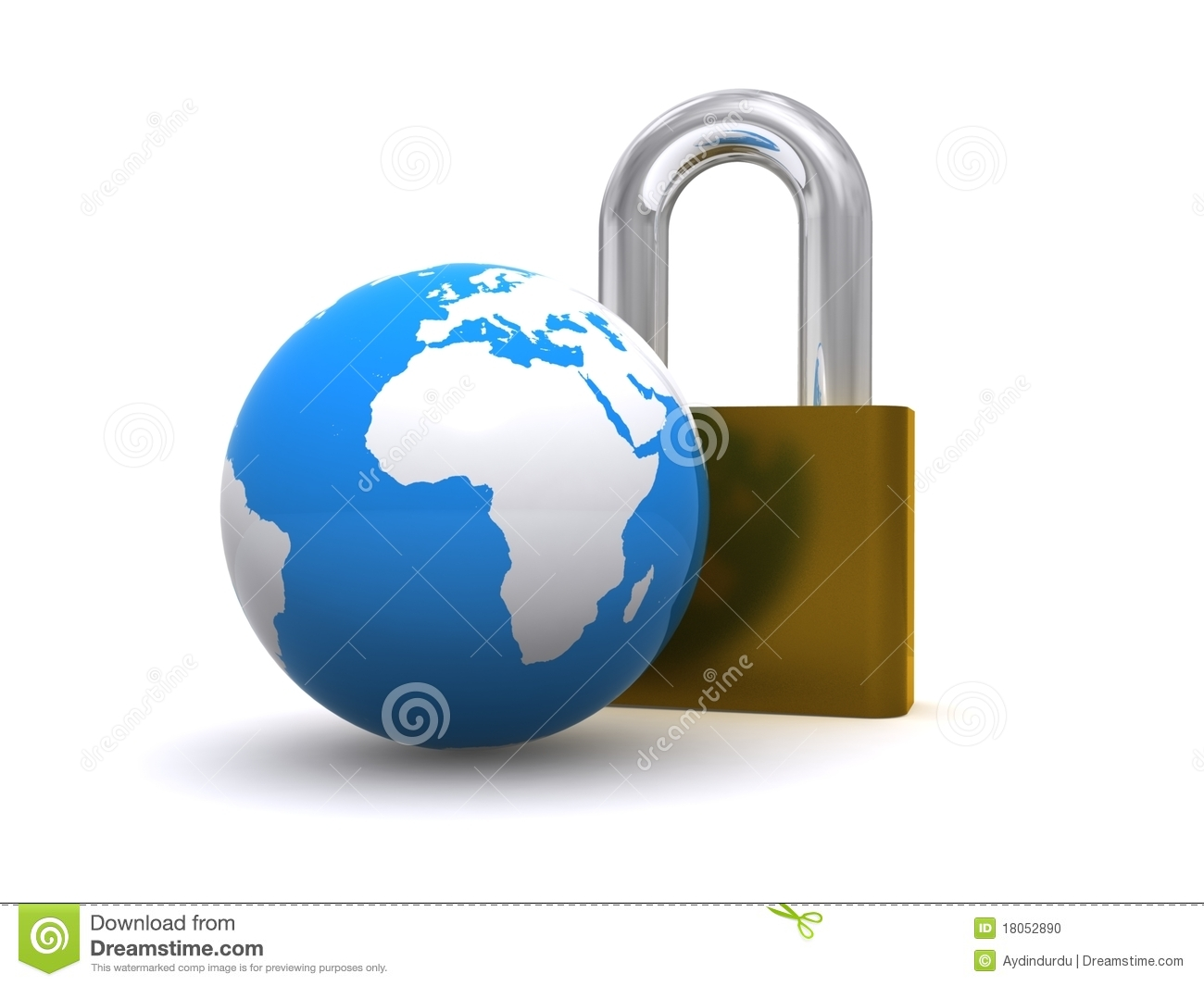 World globe and padlock