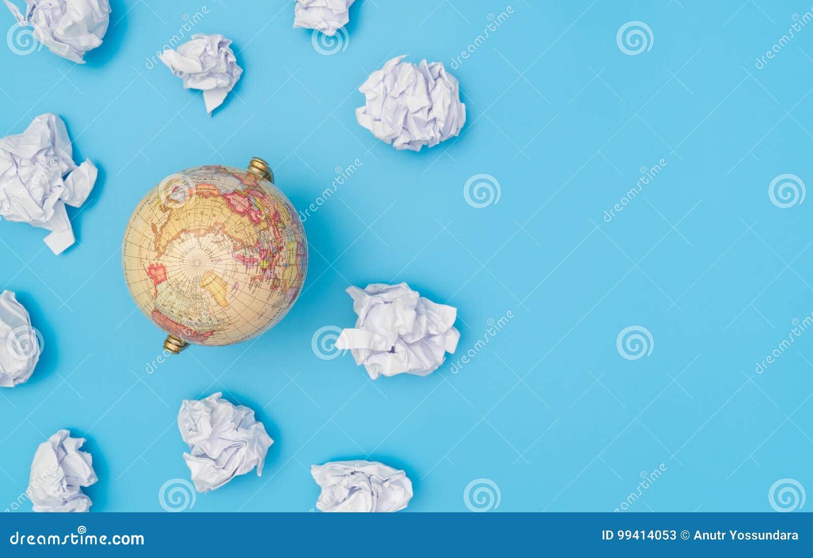 World globe in paper cloud