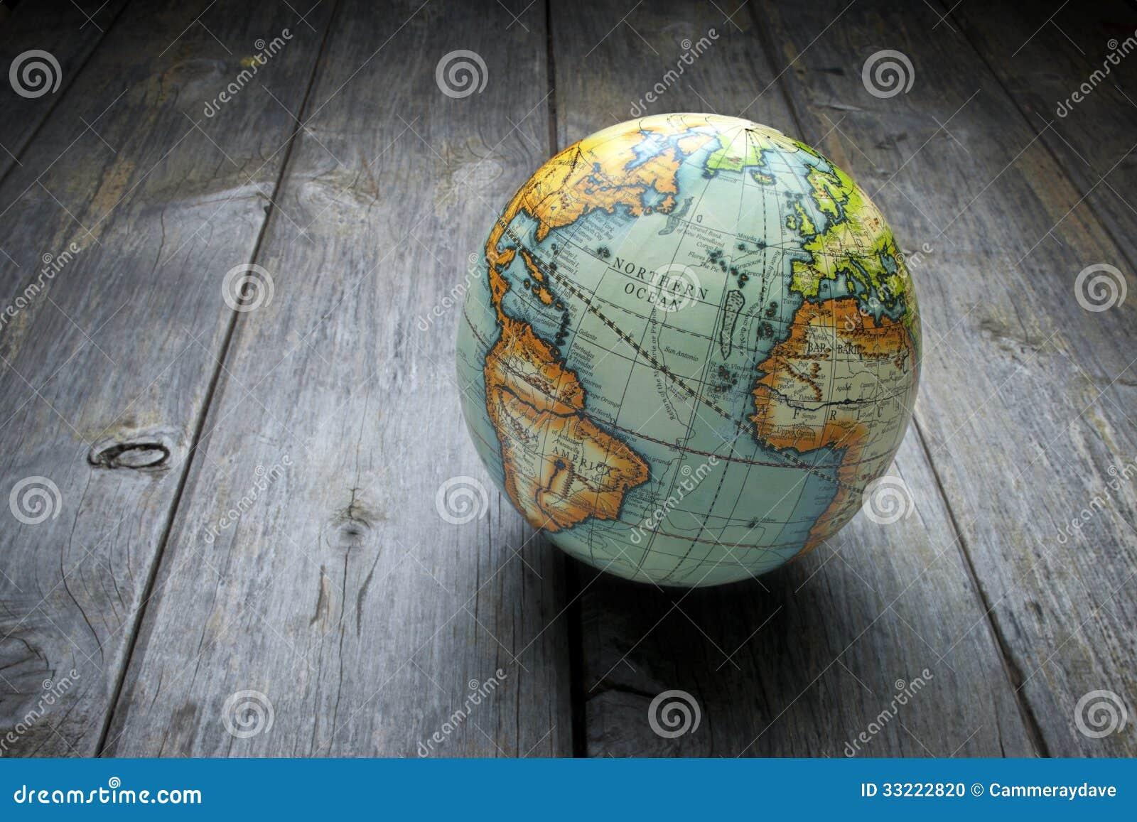 World Globe Wood Background