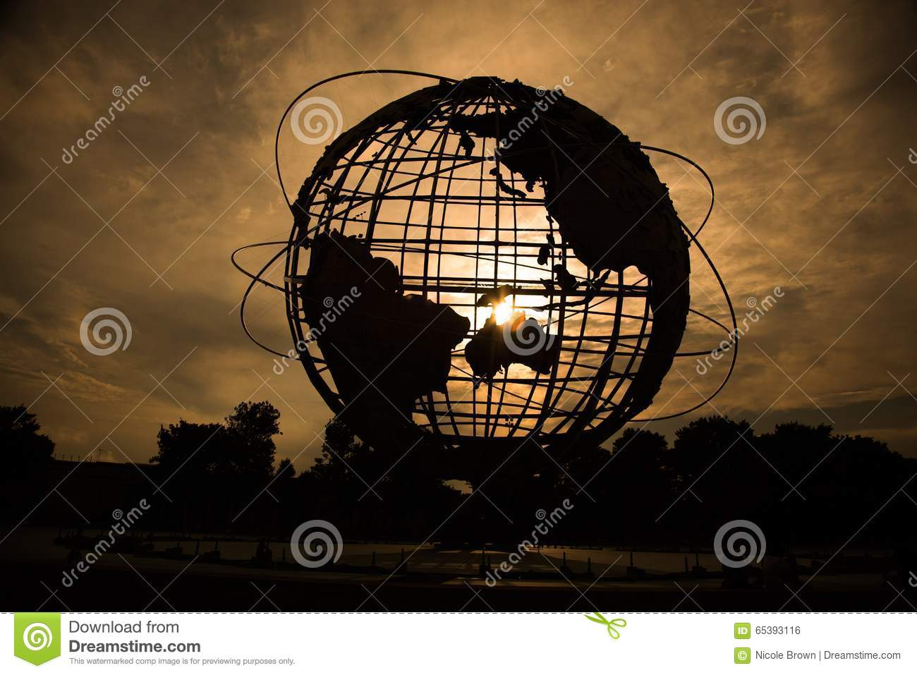 World Globe silhouette at sunset