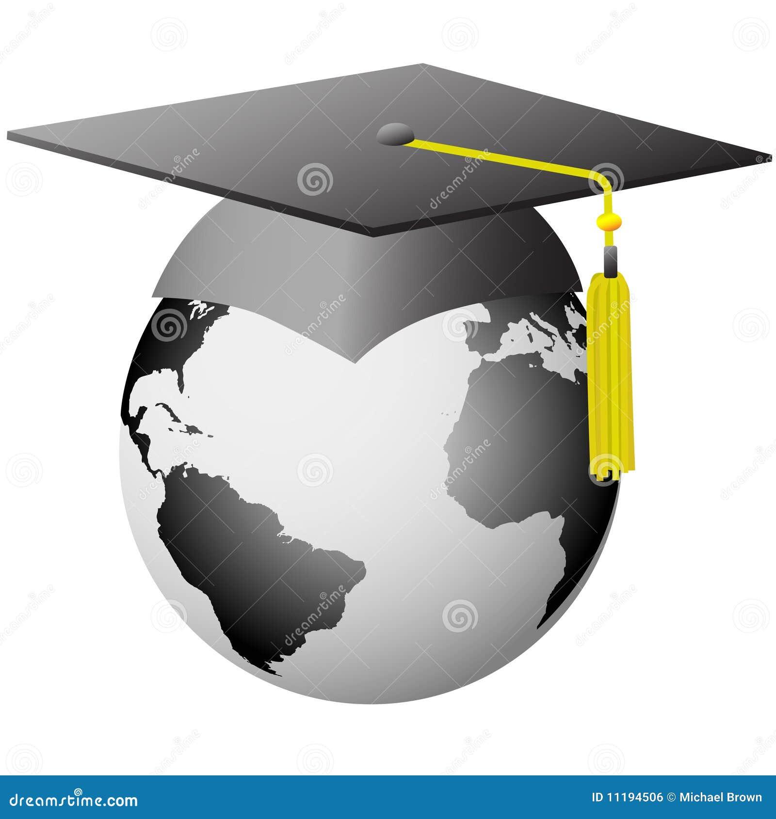 World Graduation Global Graduate Cap On Earth Stock Vector