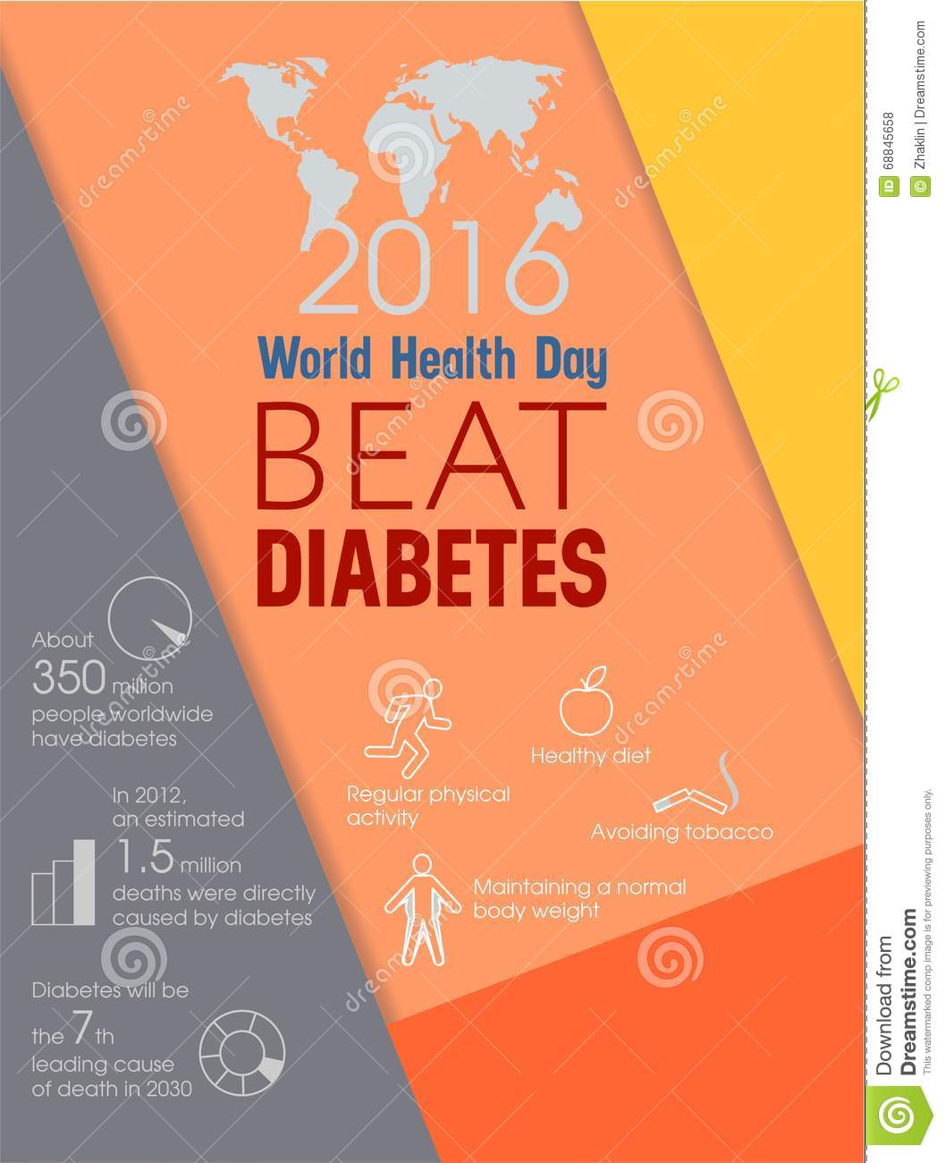 world health day beat diabetes stock vector   image 68845658