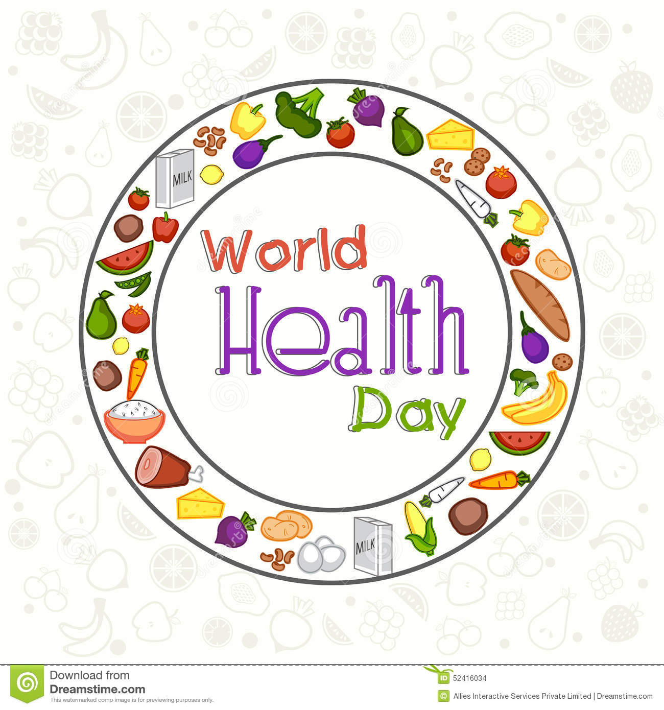 world health day concept with healthy food stock