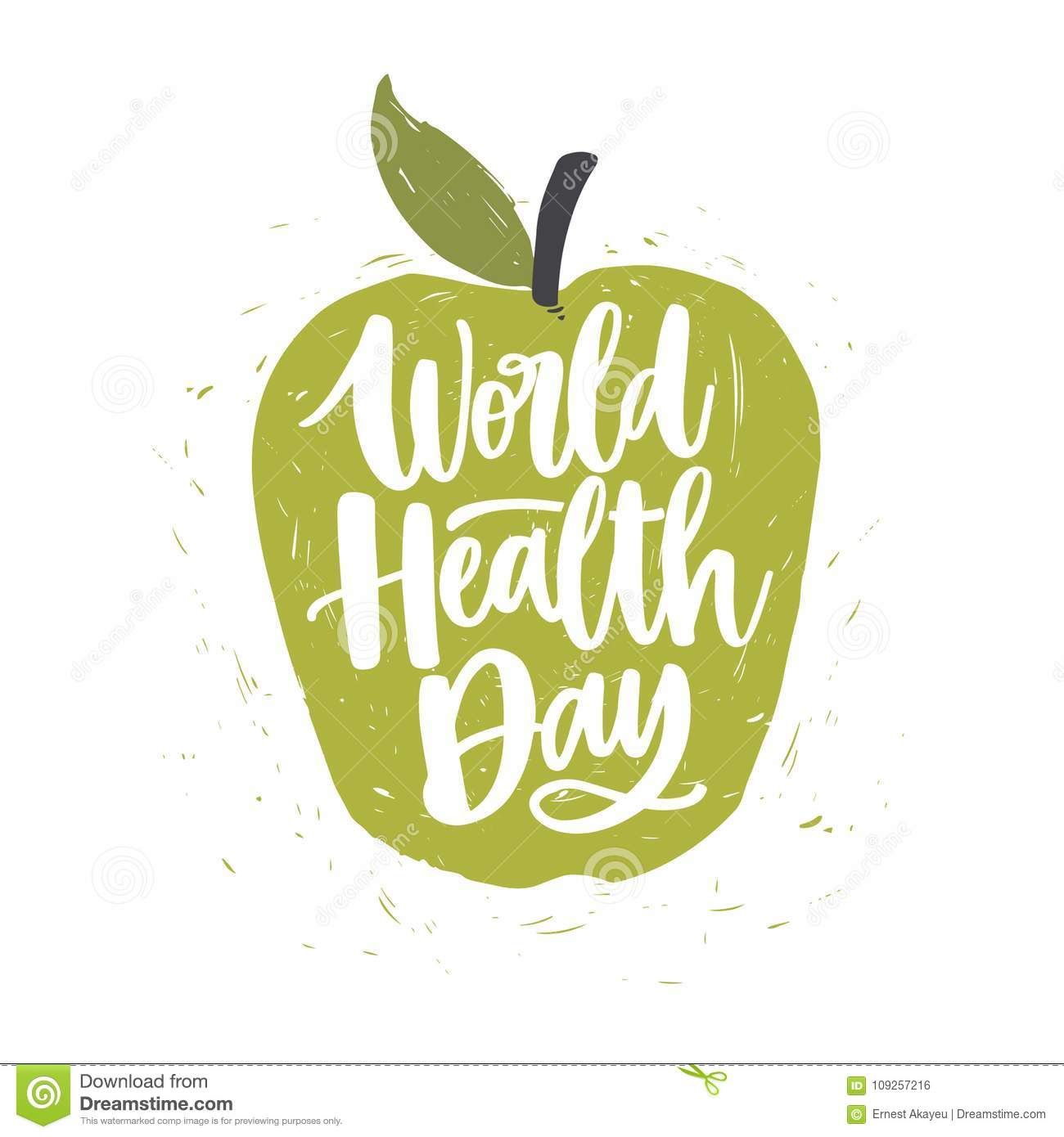 World Health Day Lettering Handwritten With Calligraphic Font On