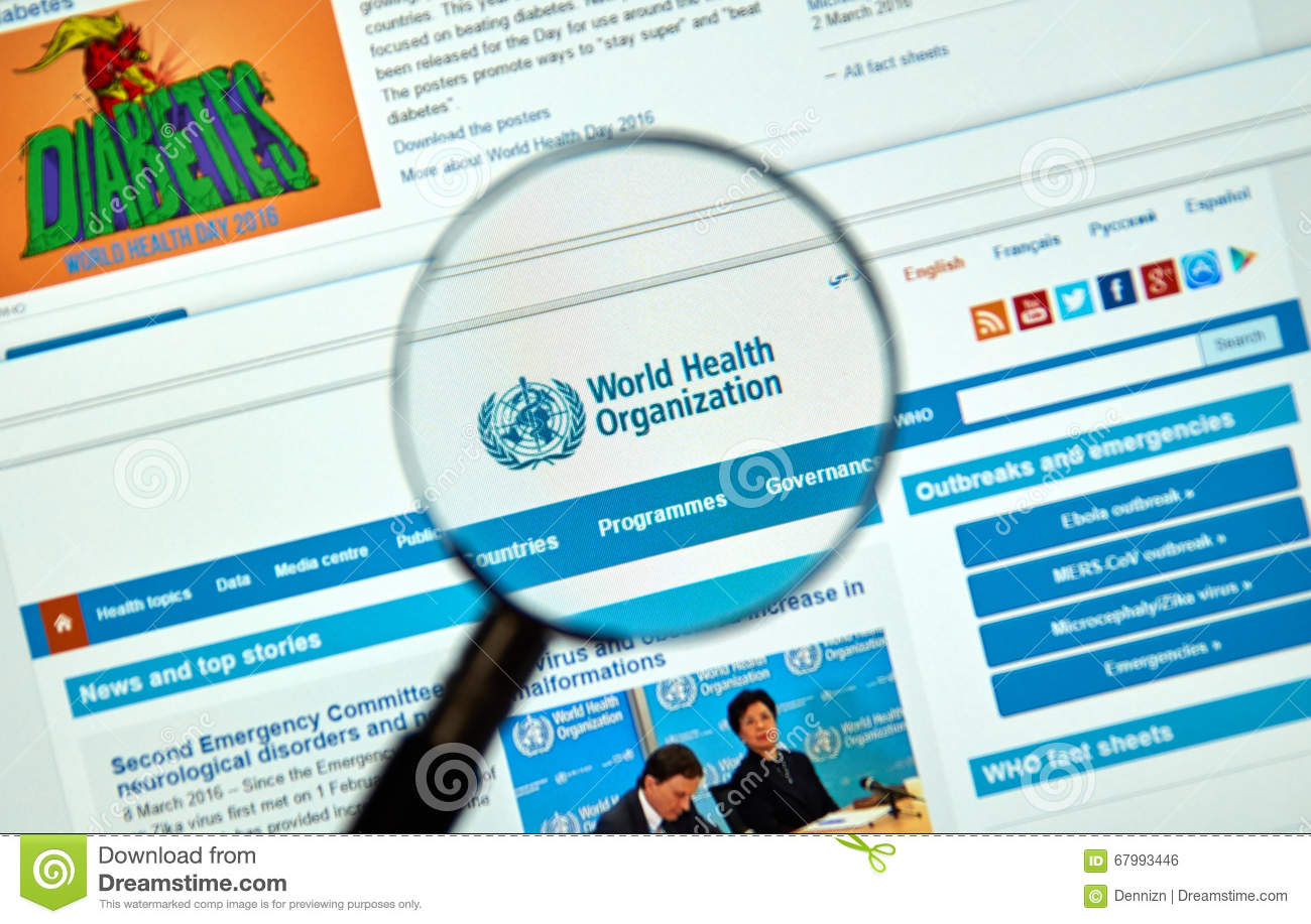 World Health Organisation logo and web site