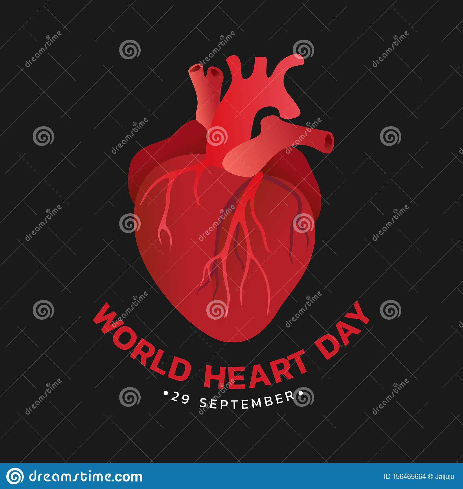 World heart day with red human heart sign on black background vector design