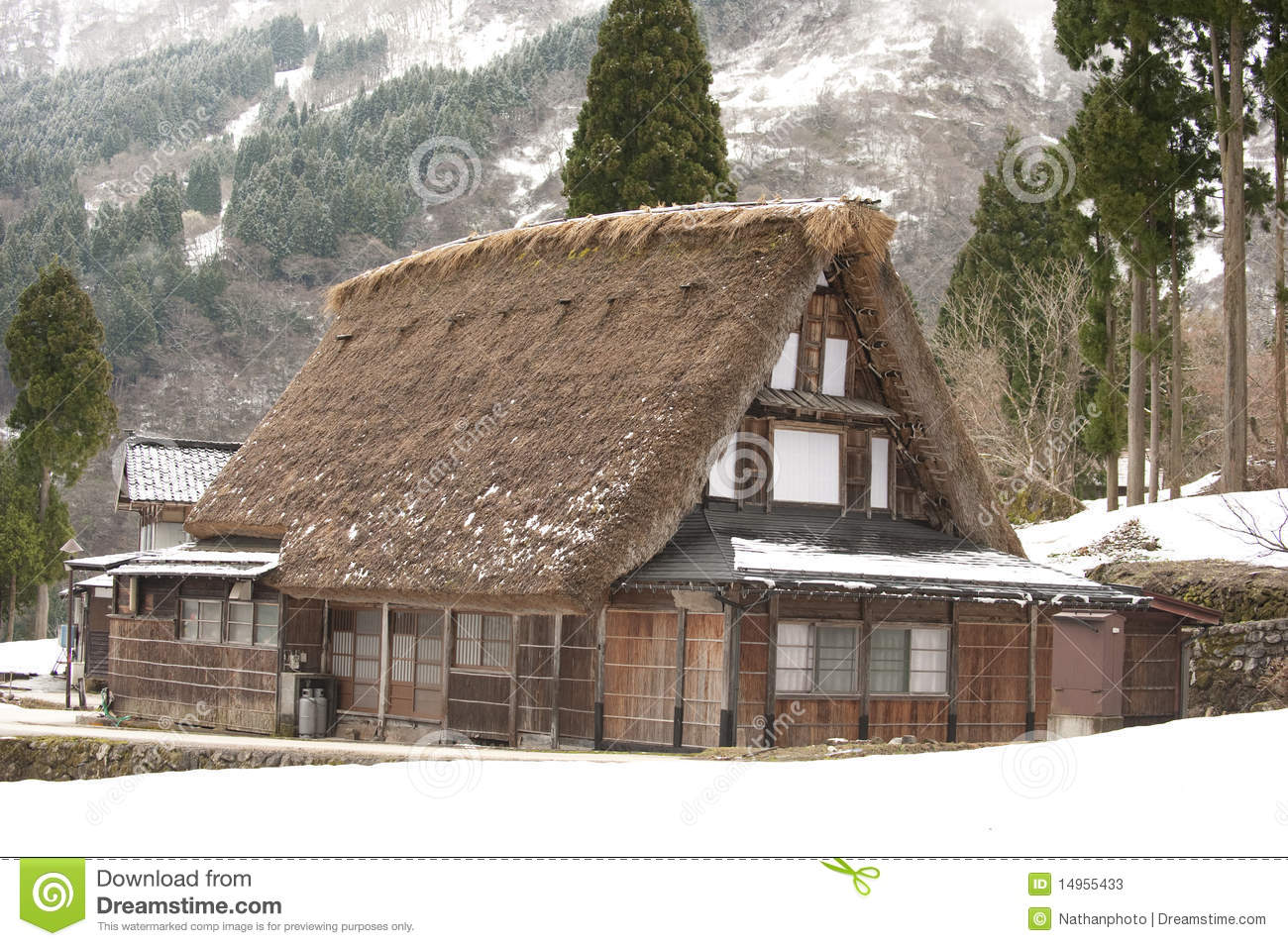 World Heritage Site Thatched Roof House Japan Stock