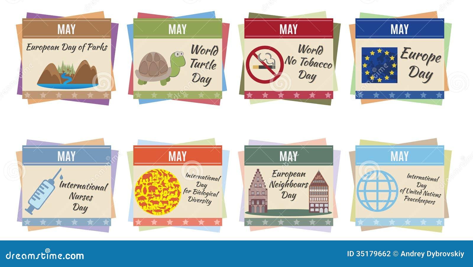 Xs Calendar May : World holidays may stock vector image of future