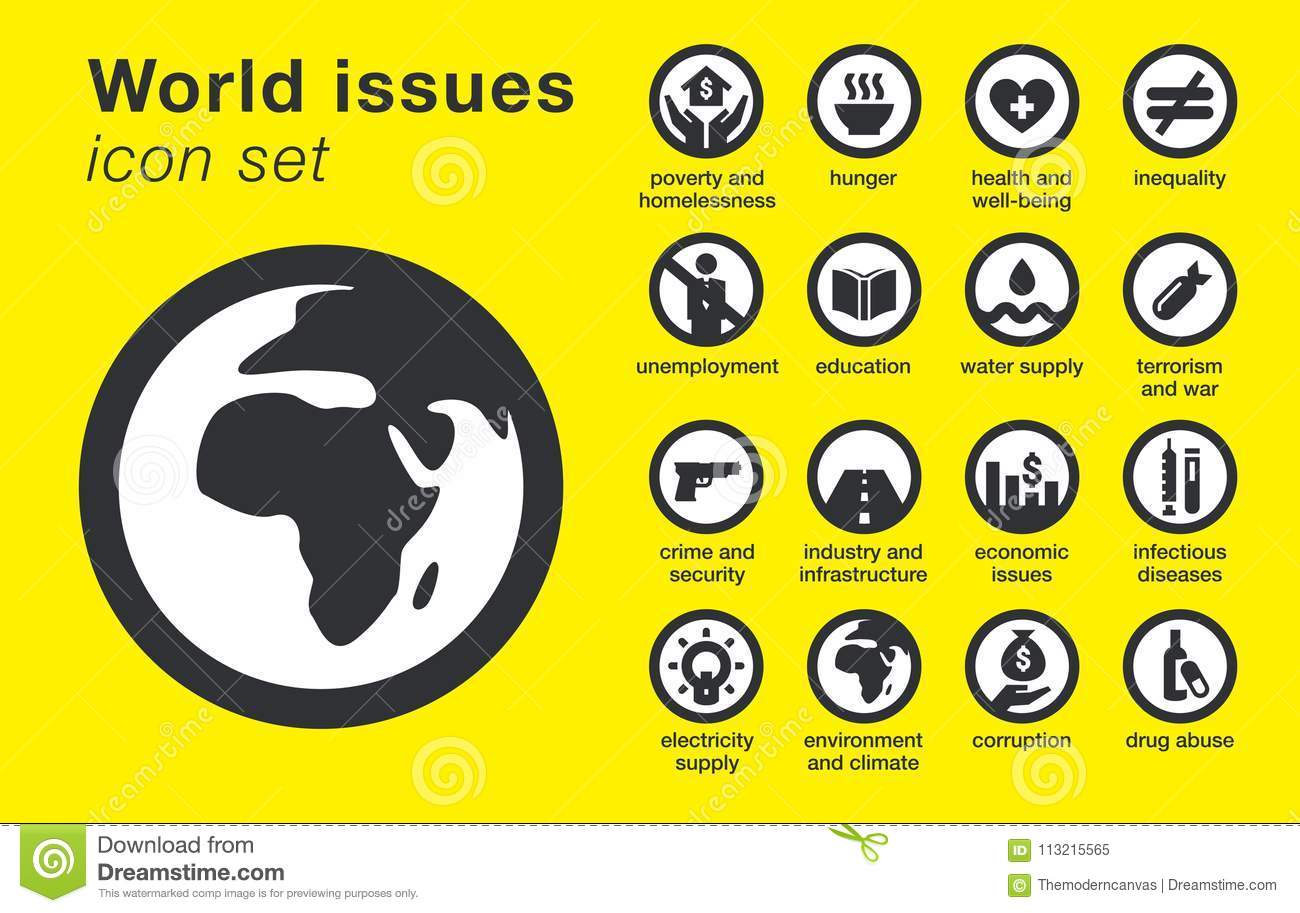 World issues icons set. Sustainability problems