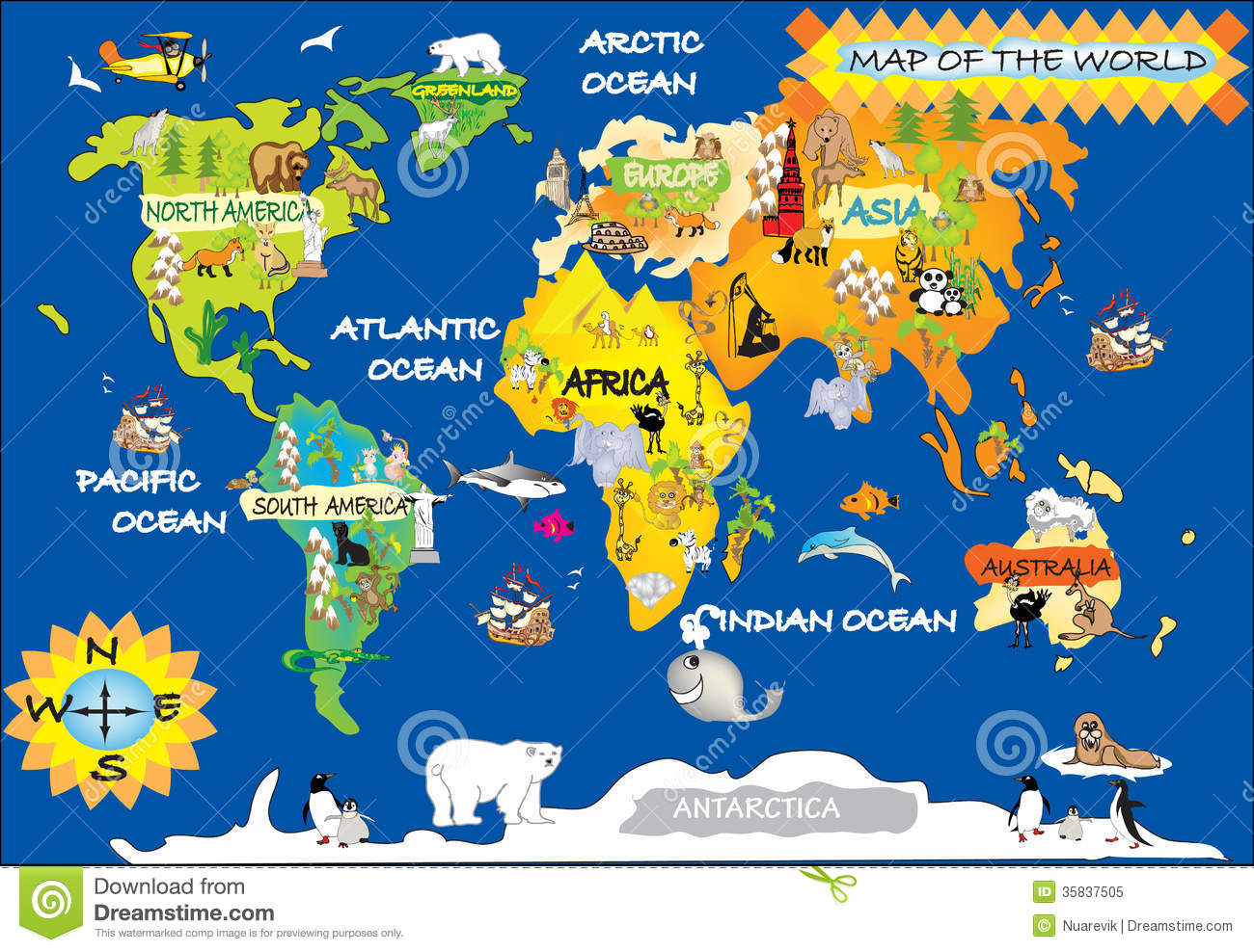 World kids map stock illustration. Illustration of london - 35837505
