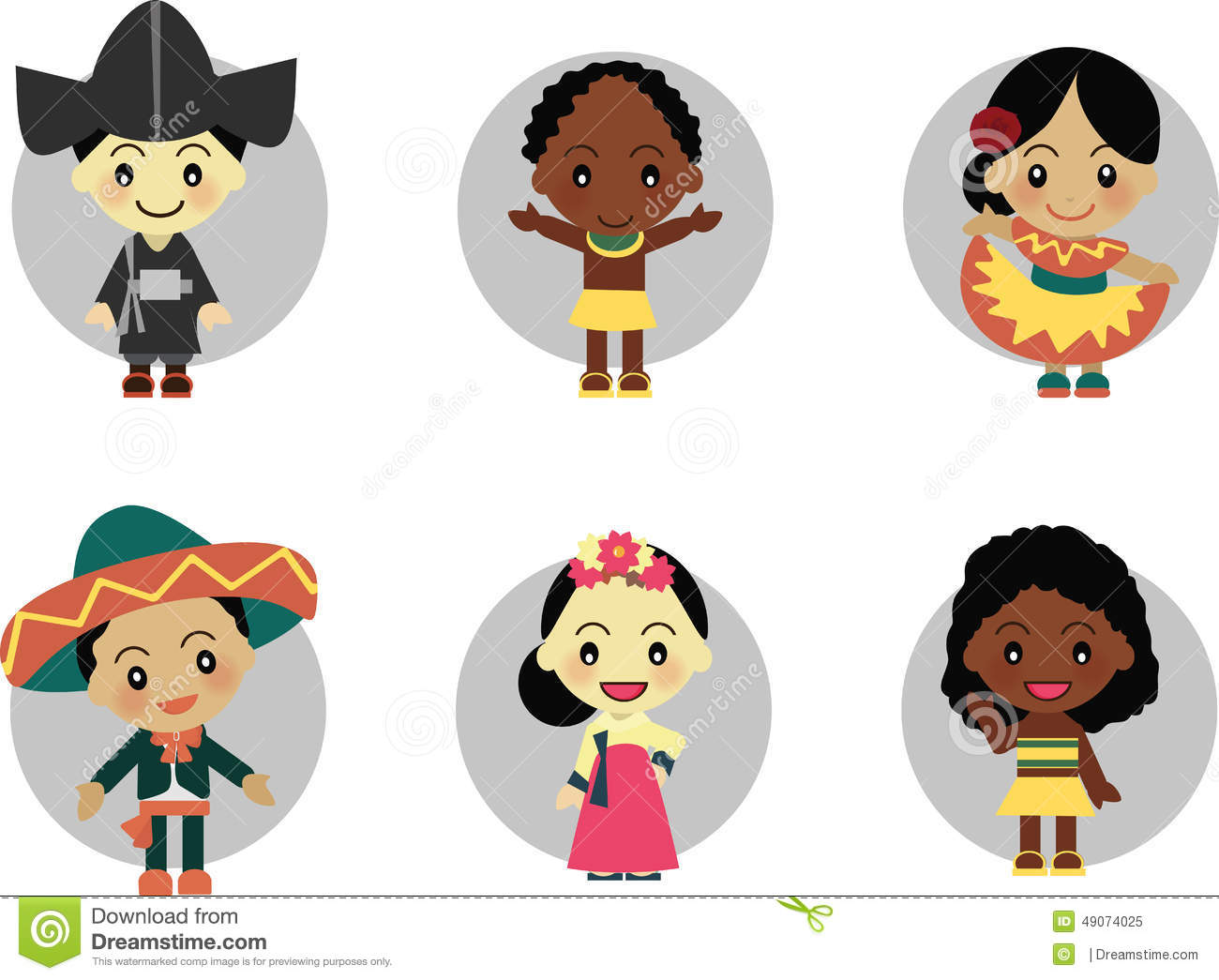 kids diversity arround korea mexico africa wear traditional clothes