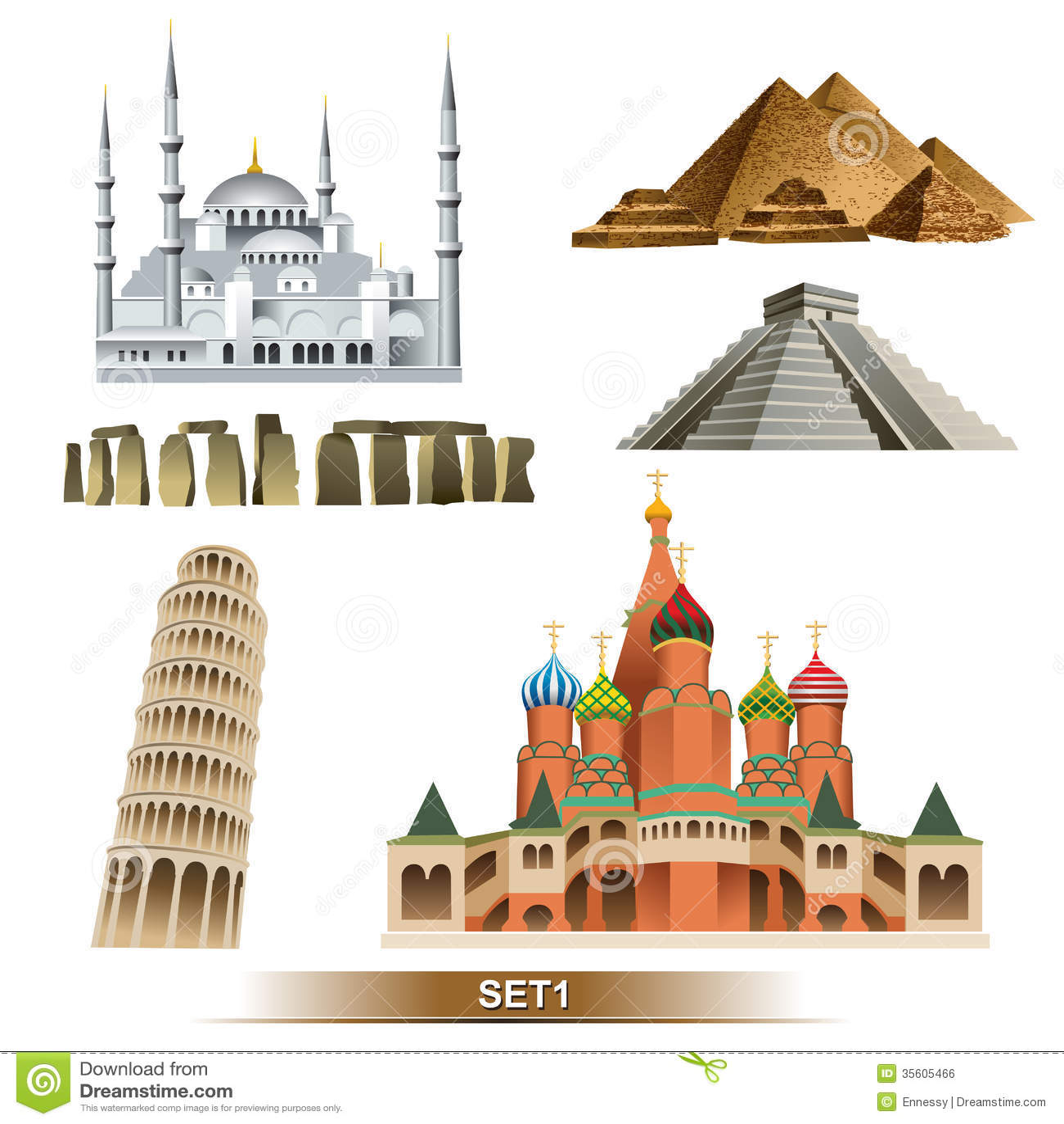 World Landmark icon setEgyptian pyramids, pisa tower, pyramid Maya ...