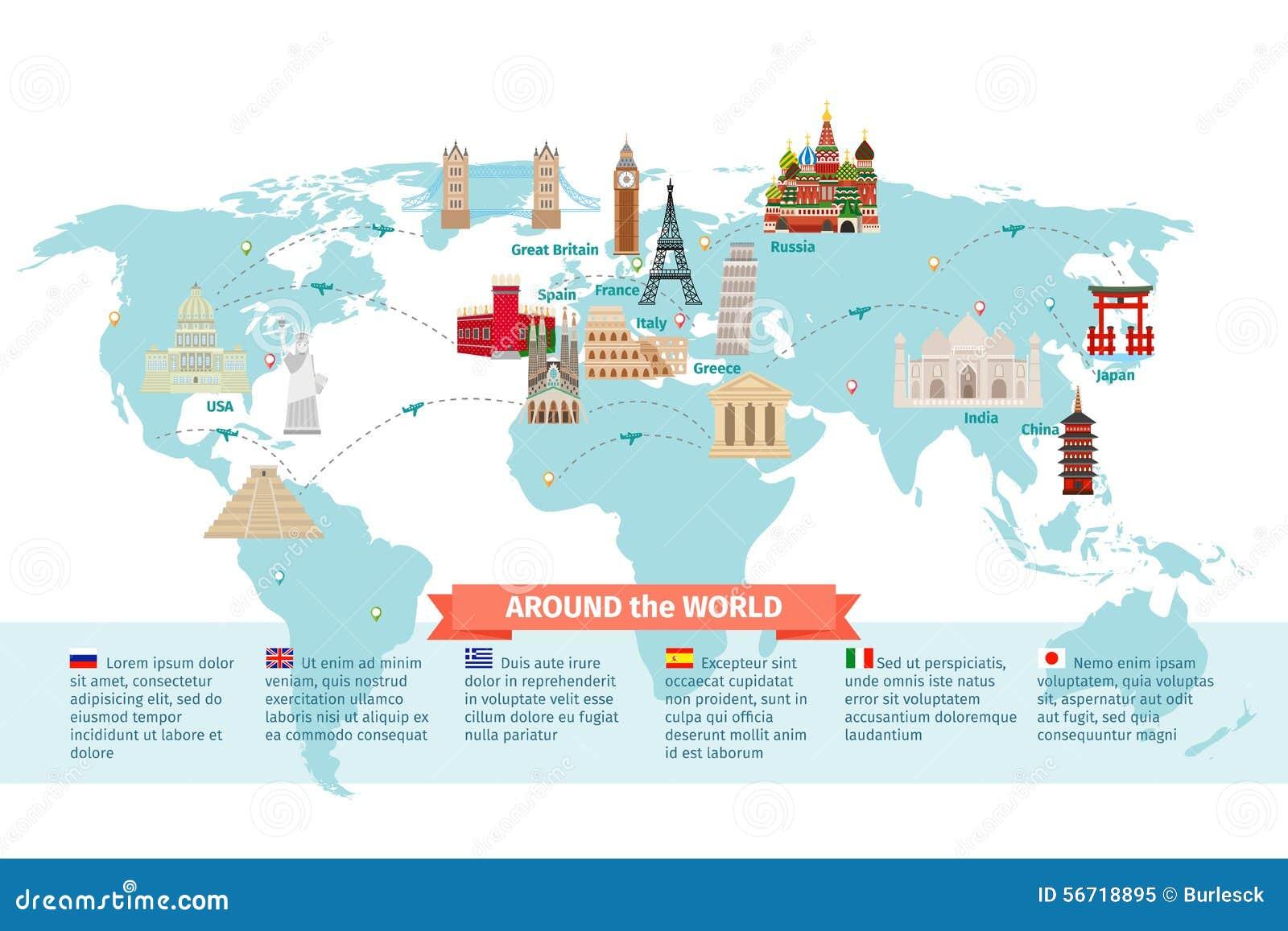 World landmarks on map stock vector. Illustration of concept - 56718895