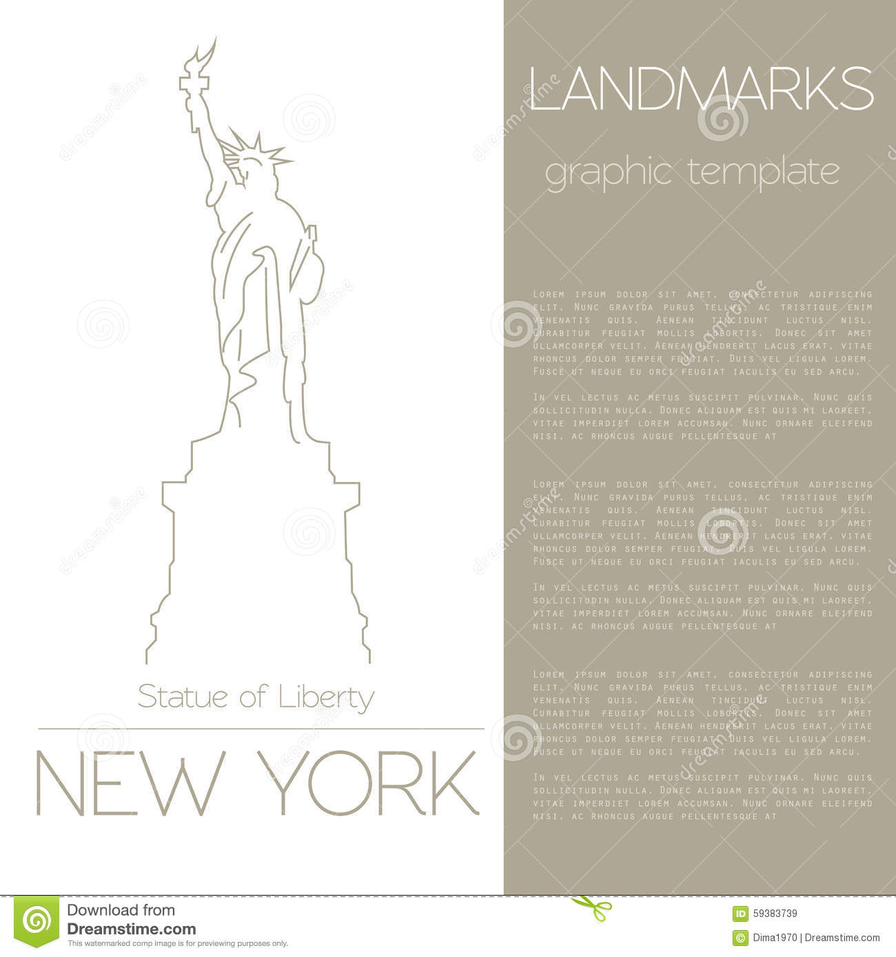 world landmarks new york usa statue of liberty graphic template