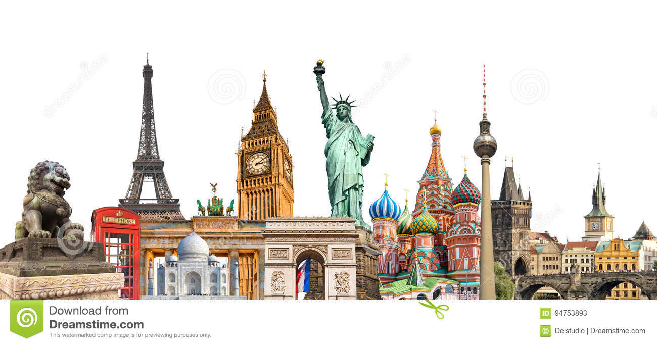 World landmarks photo collage isolated on white background, travel tourism and study around the world concept