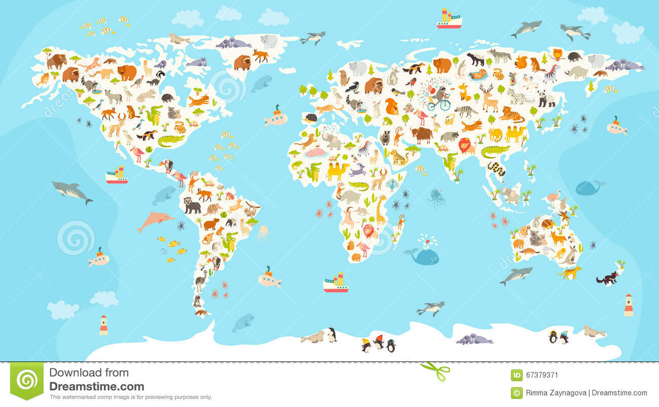 World Mammal Map Beautiful Cheerful Colorful Vector Illustration - Continents map for kids