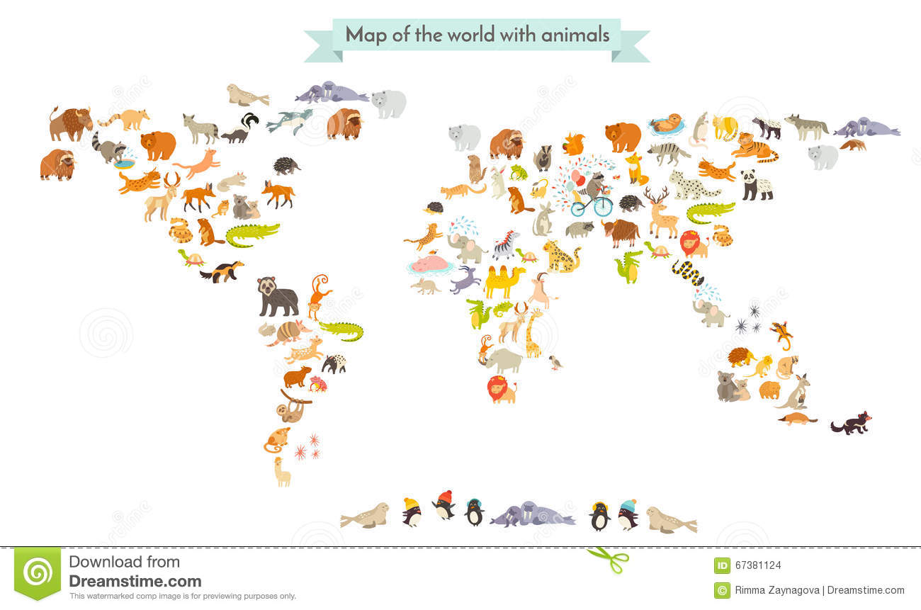 World Mammal Map Silhouettes Animals World Map Isolated On White Background