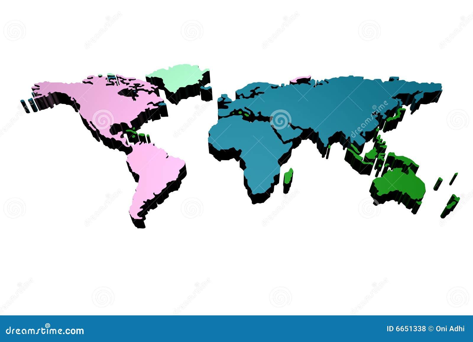 World Map 3 D Stock Illustration Illustration Of Idea 6651338