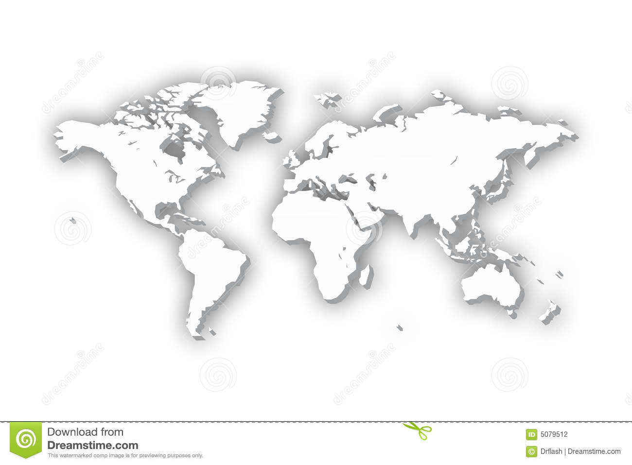 World Map In 3D Stock Photography - Image: 5079512