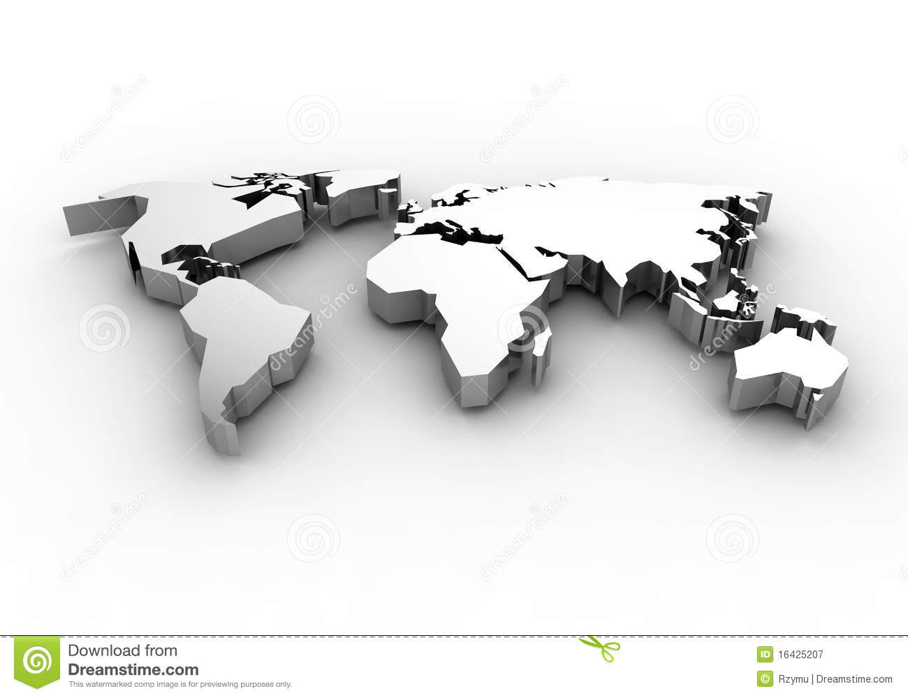 World map   3d render stock illustration. Illustration of white