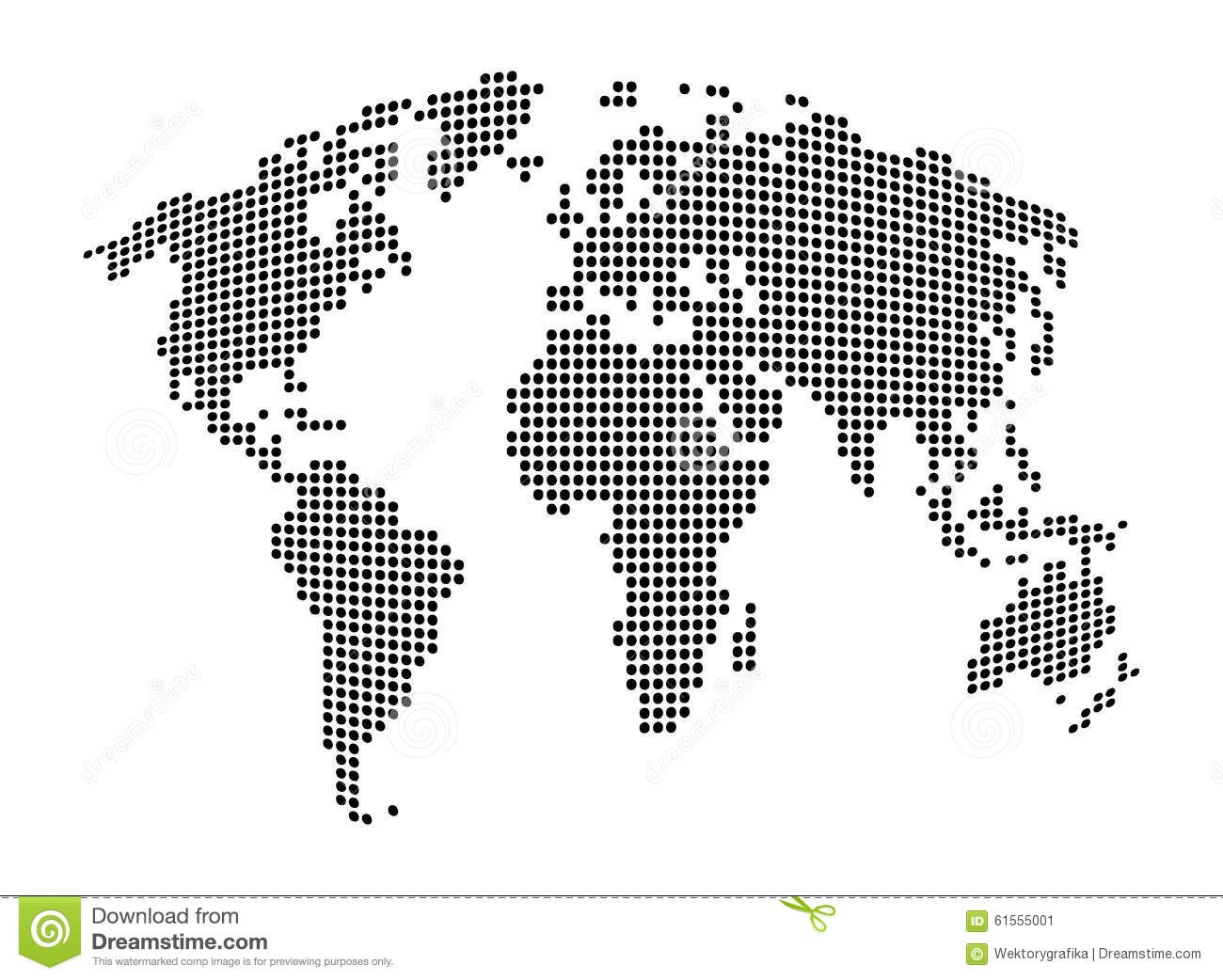 Vector Black And White World Map Stock Vector - Illustration of ...