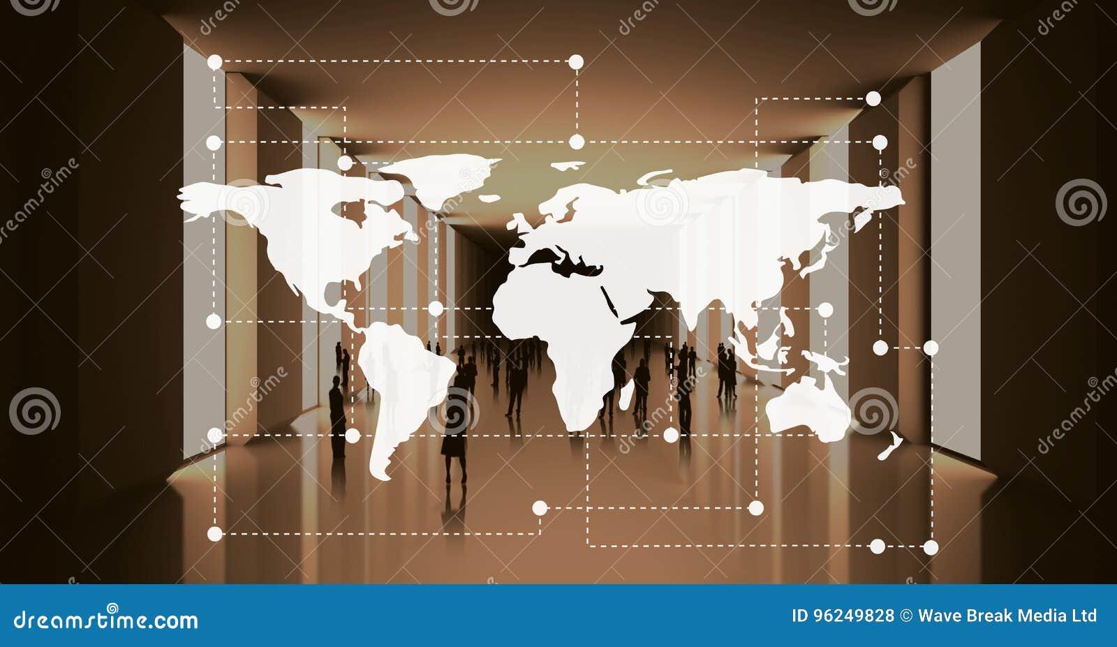 World Map Against Office Background Stock Illustration