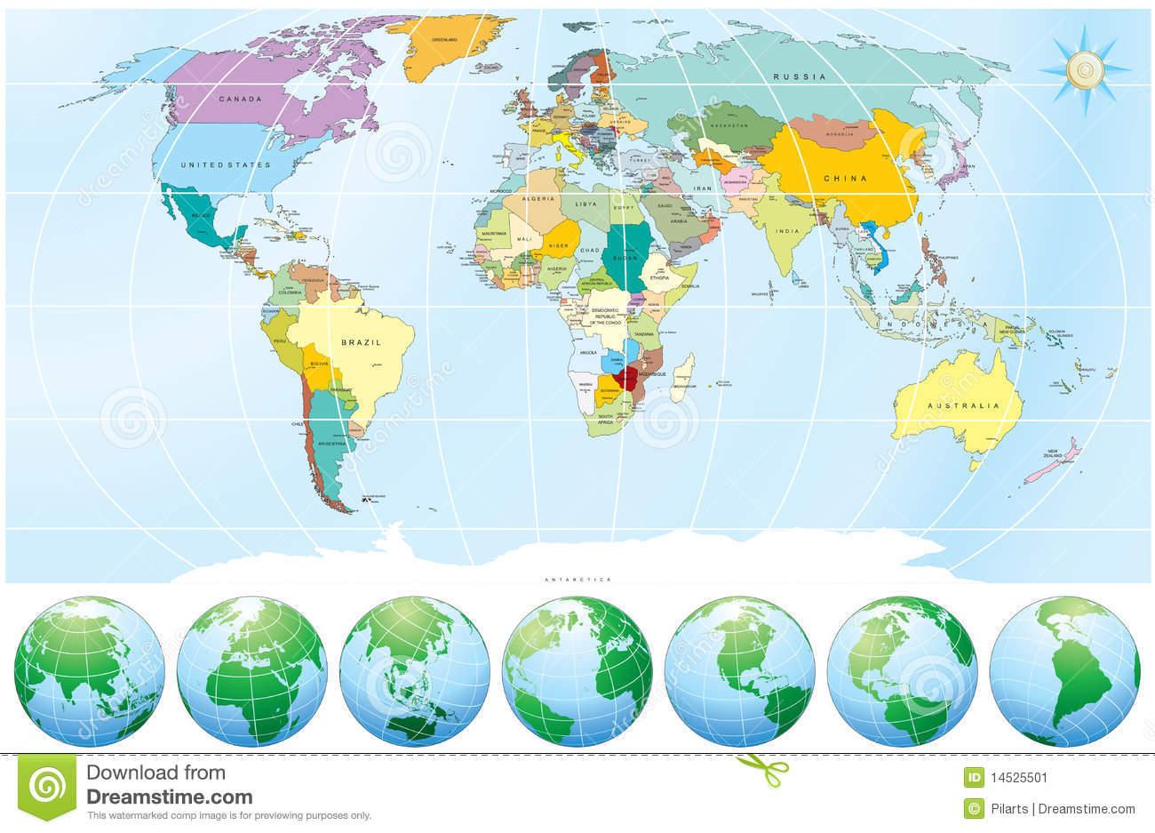 World Map With All Capitalscountries Stock Image Image - Map of the countries of the world