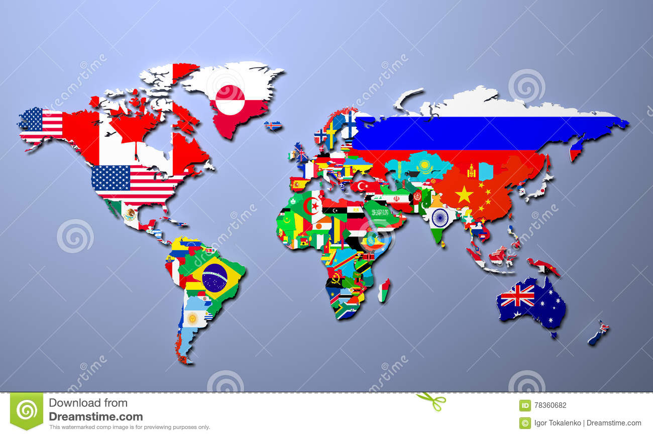 The world map with all states and their flags 3d illustration stock the world map with all states and their flags 3d illustration gumiabroncs Choice Image