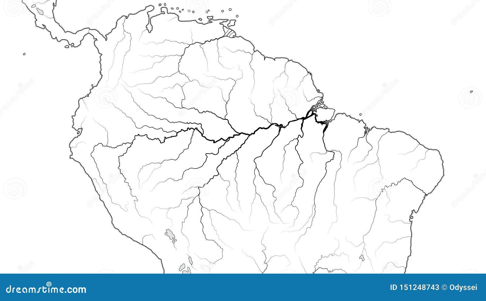 World Map Of AMAZON SELVA REGION In SOUTH AMERICA: Amazon River ...