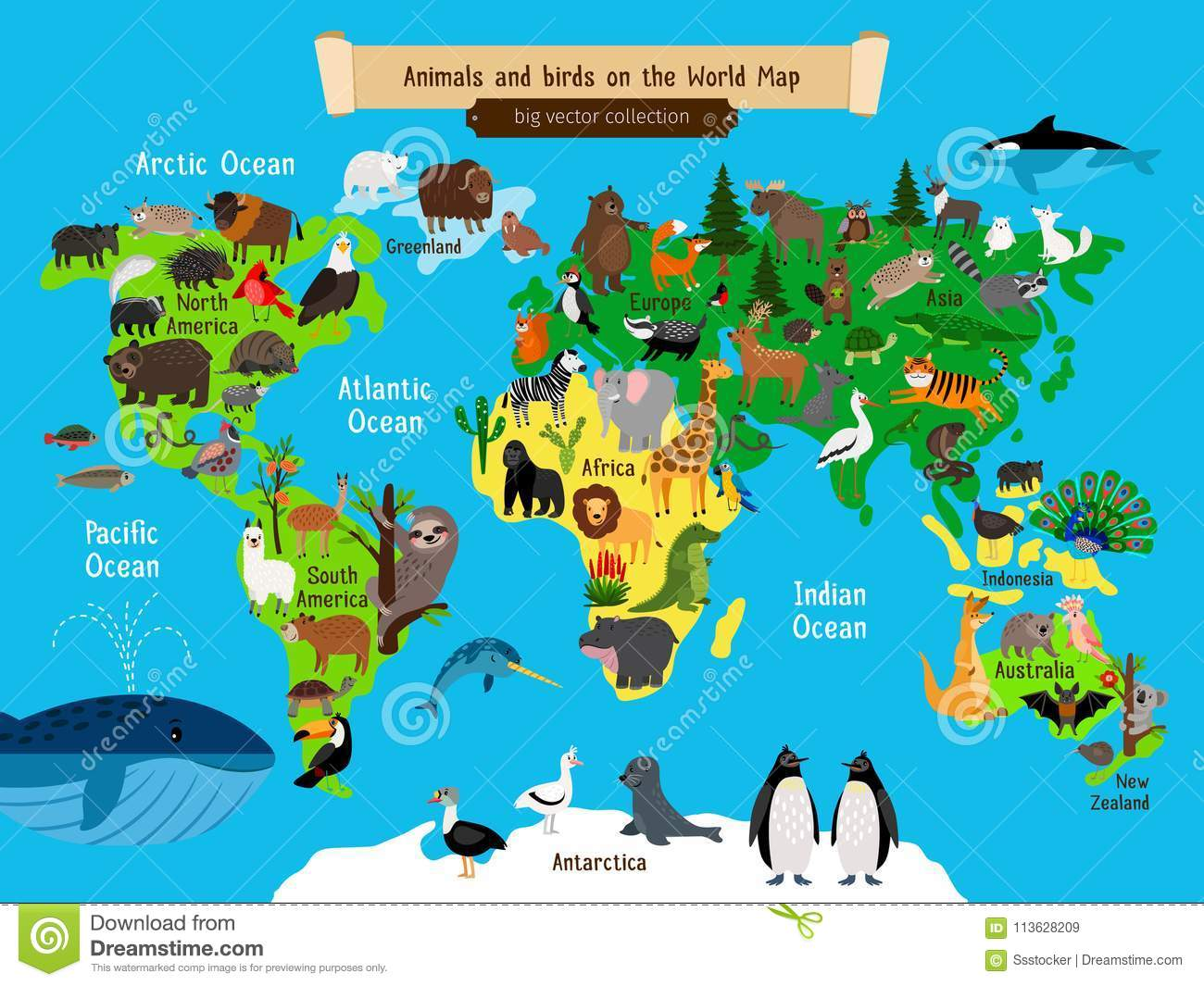 World Map Animals Europe And Asia South And North America
