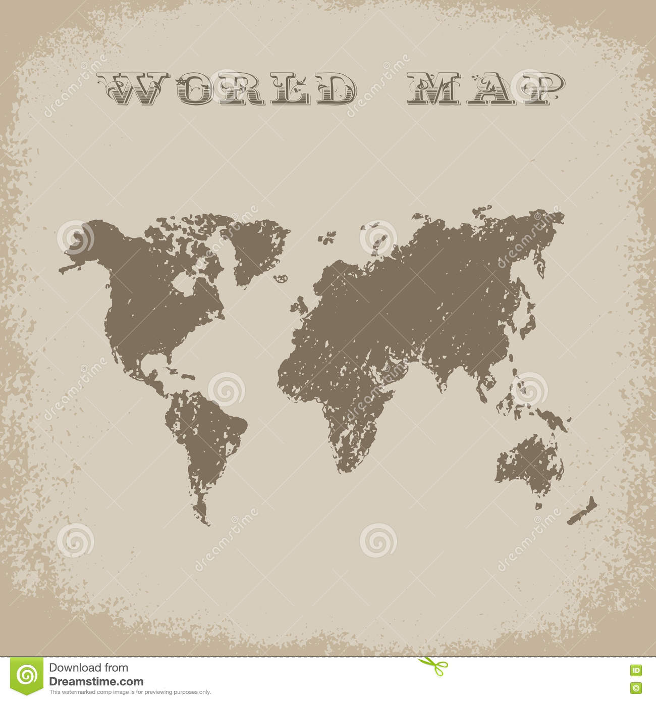 World Map In Antique Style Vector Stock Illustration