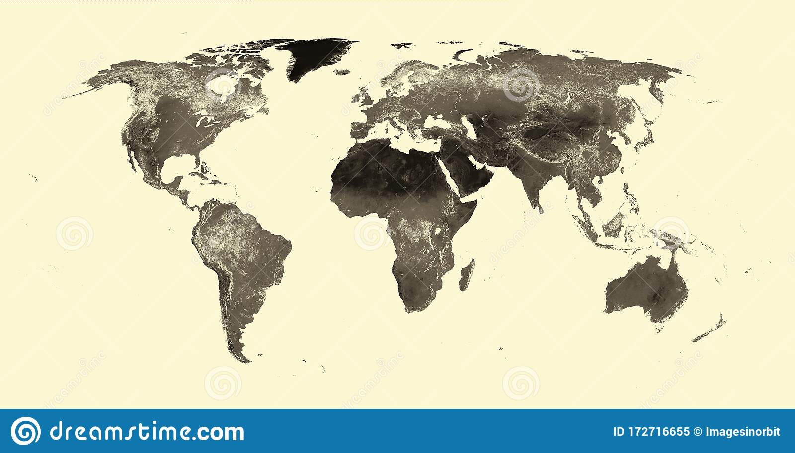 World Map Antique Topographical No Borders Robinson Projection Nature Mountains Rivers Oceans Lakes Stock Image Illustration Of Africa Brazil 172716655