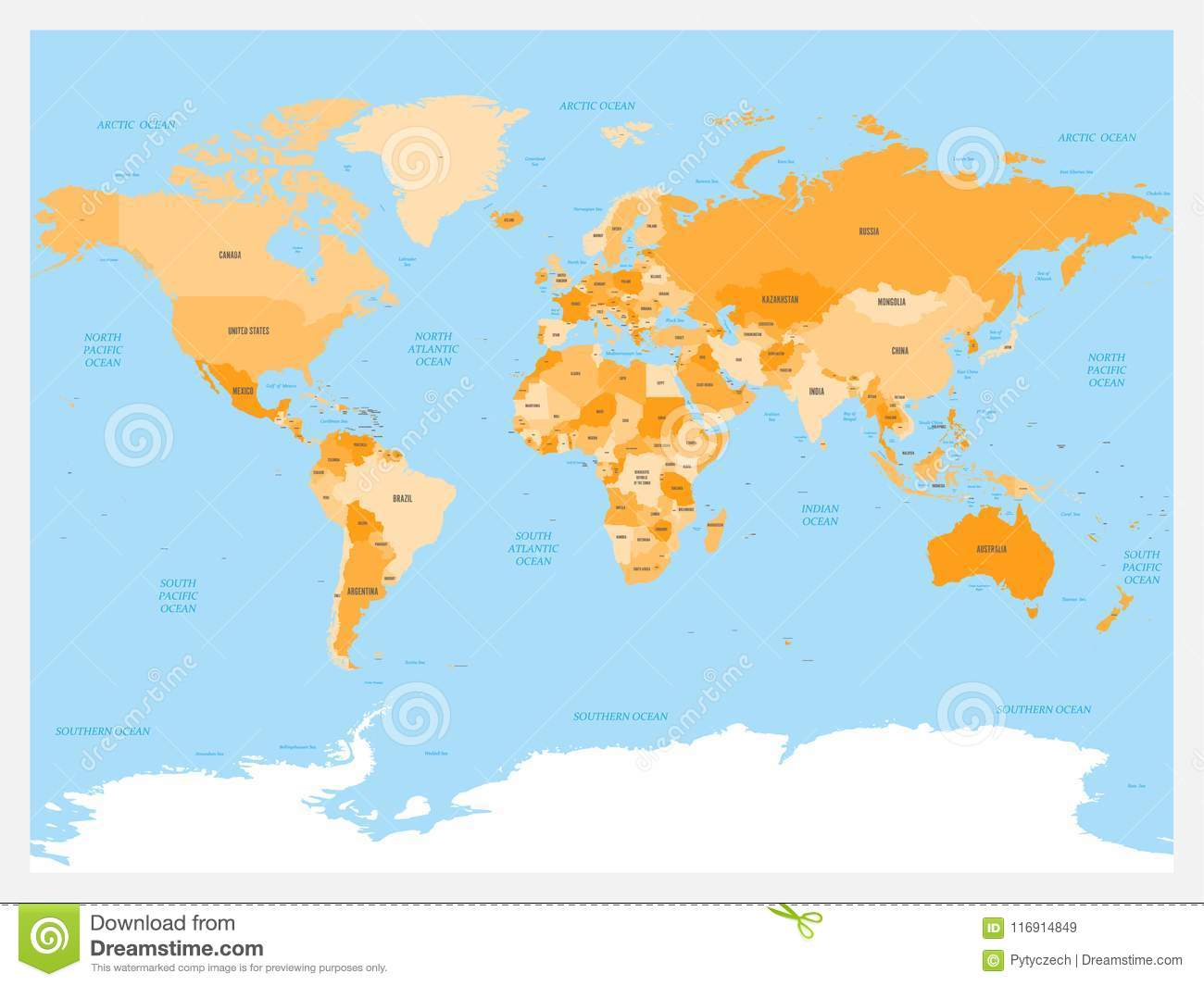 Download World Map Atlas Colored Political With Blue Seas And Oceans Vector Illustration