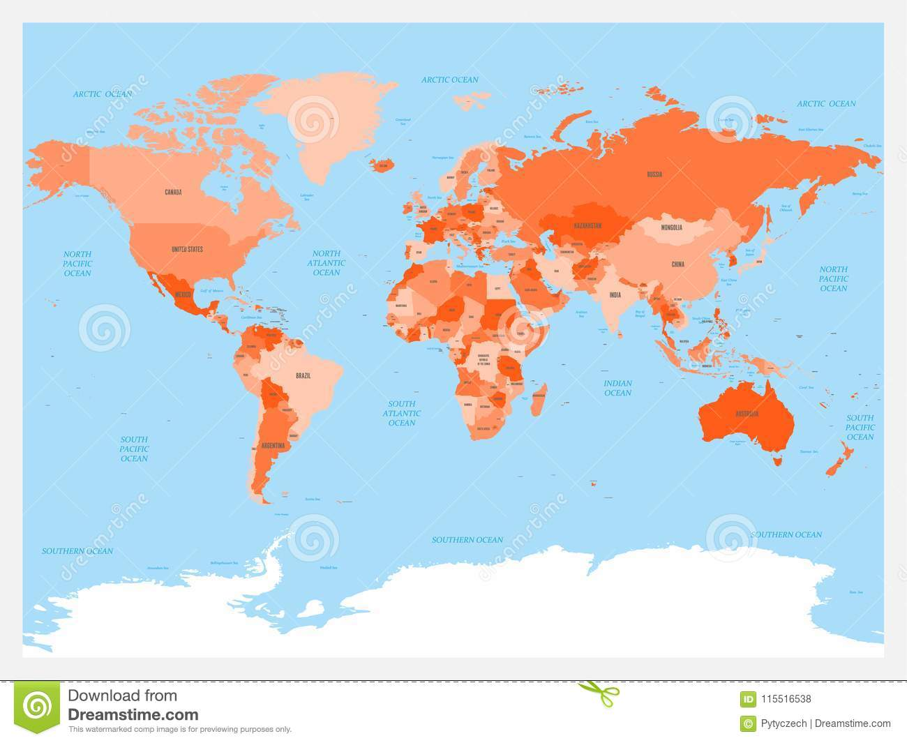 World Map Atlas. Red Colored Political Map With Blue Seas ...