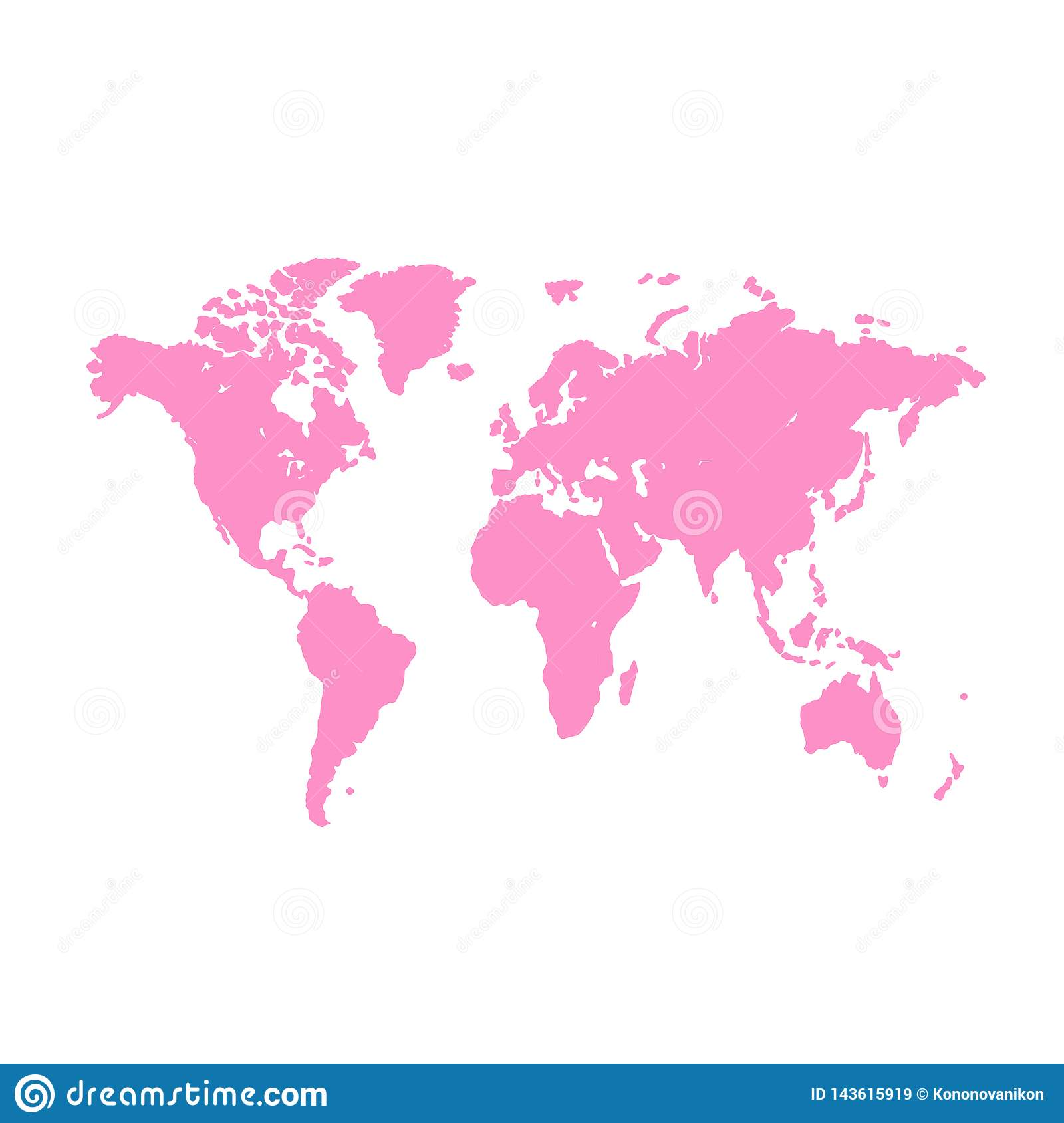 World map background. Grunge illustration of silhouettes world map. Pink blank vector world map